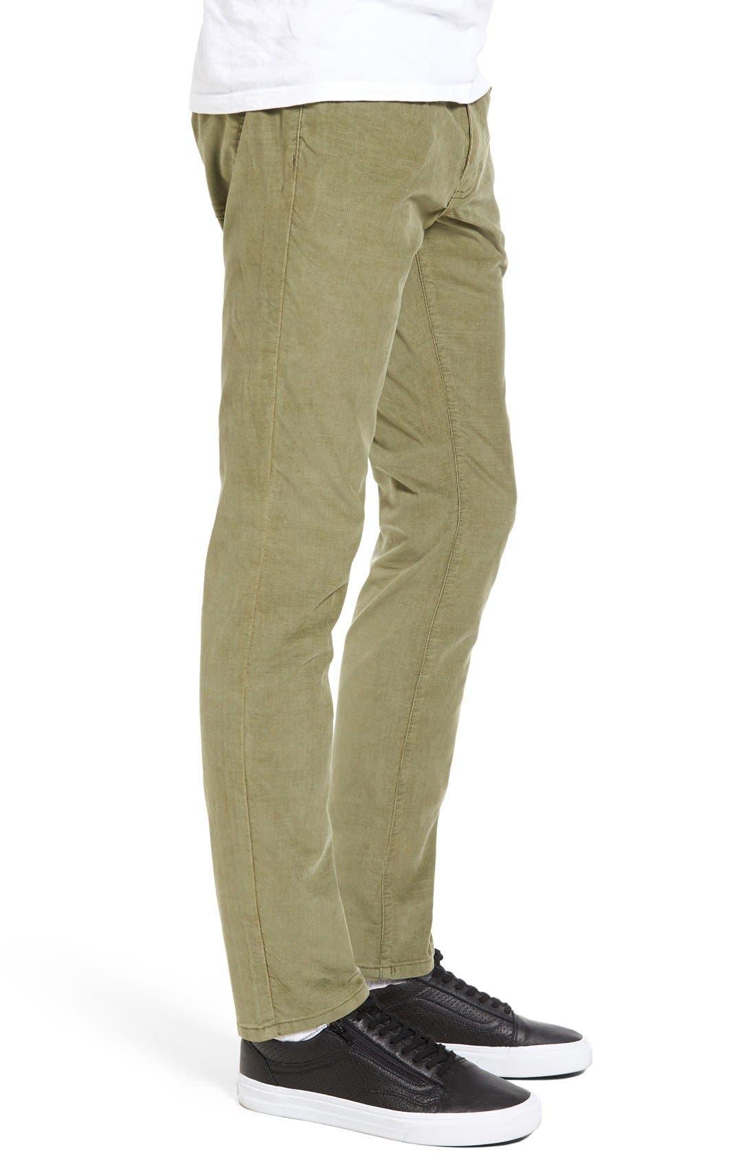 Bryce Chopper Slim Fit Corduroy Pants,                             Alternate thumbnail 3, color,                             Olive