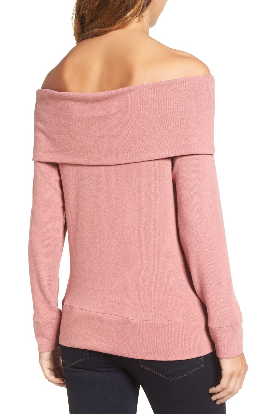 'Brooklyn' Off the Shoulder Top,                             Alternate thumbnail 3, color,                             Cashew Pink