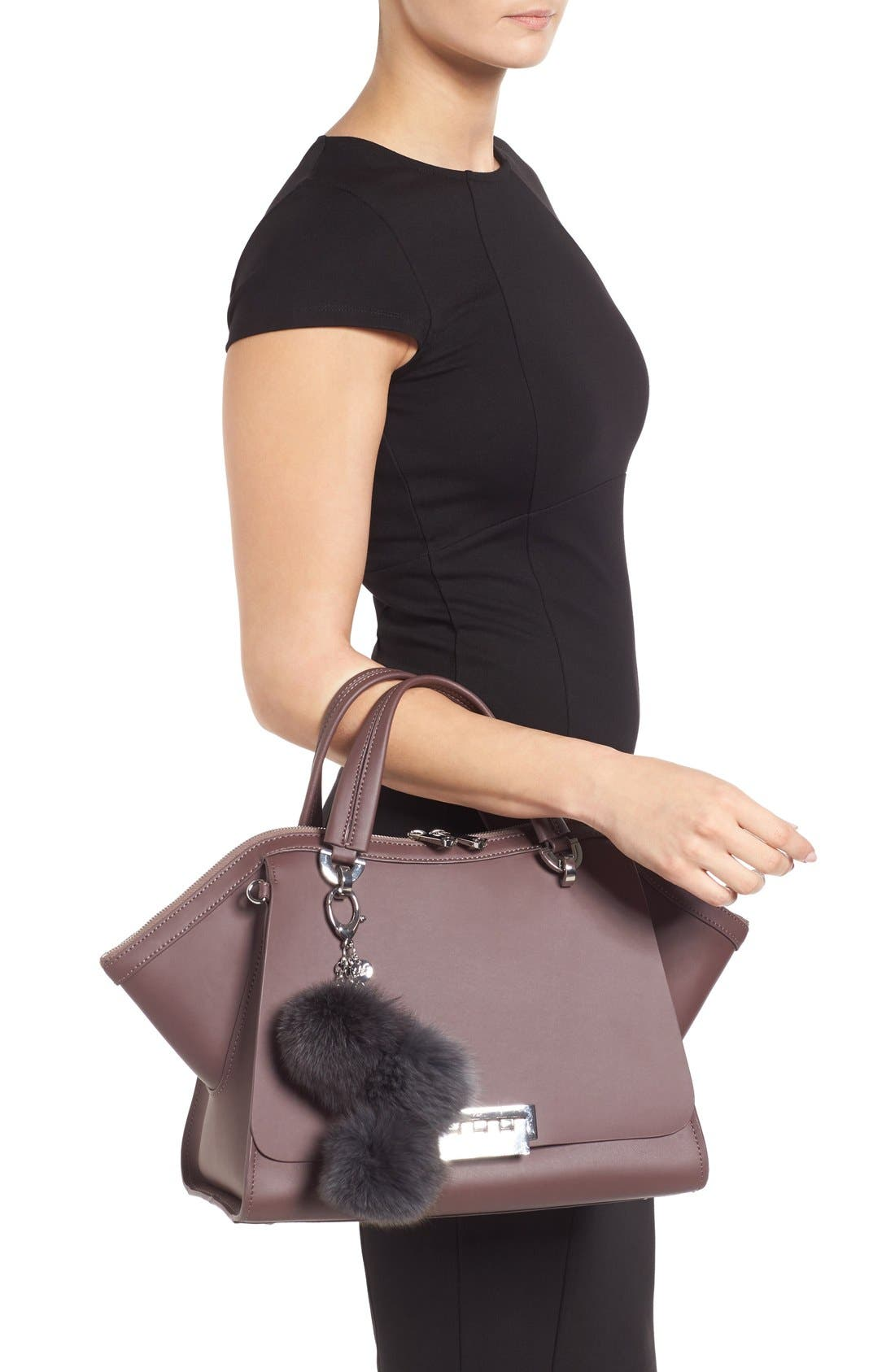 Alternate Image 2  - ZAC Zac Posen Jumbo Eartha Iconic Leather Satchel with Genuine Fox Fur Bag Charm