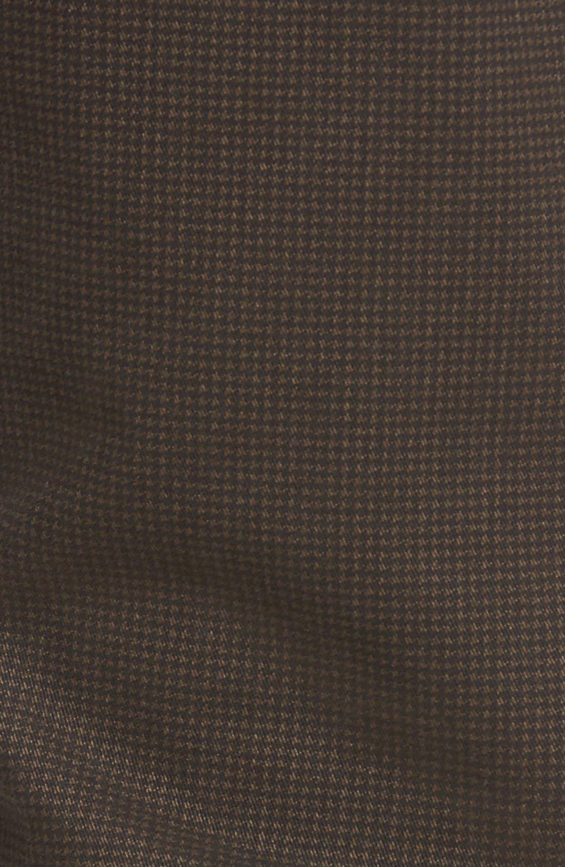 Mini Check Five-Pocket Pants,                             Alternate thumbnail 5, color,                             Truffle