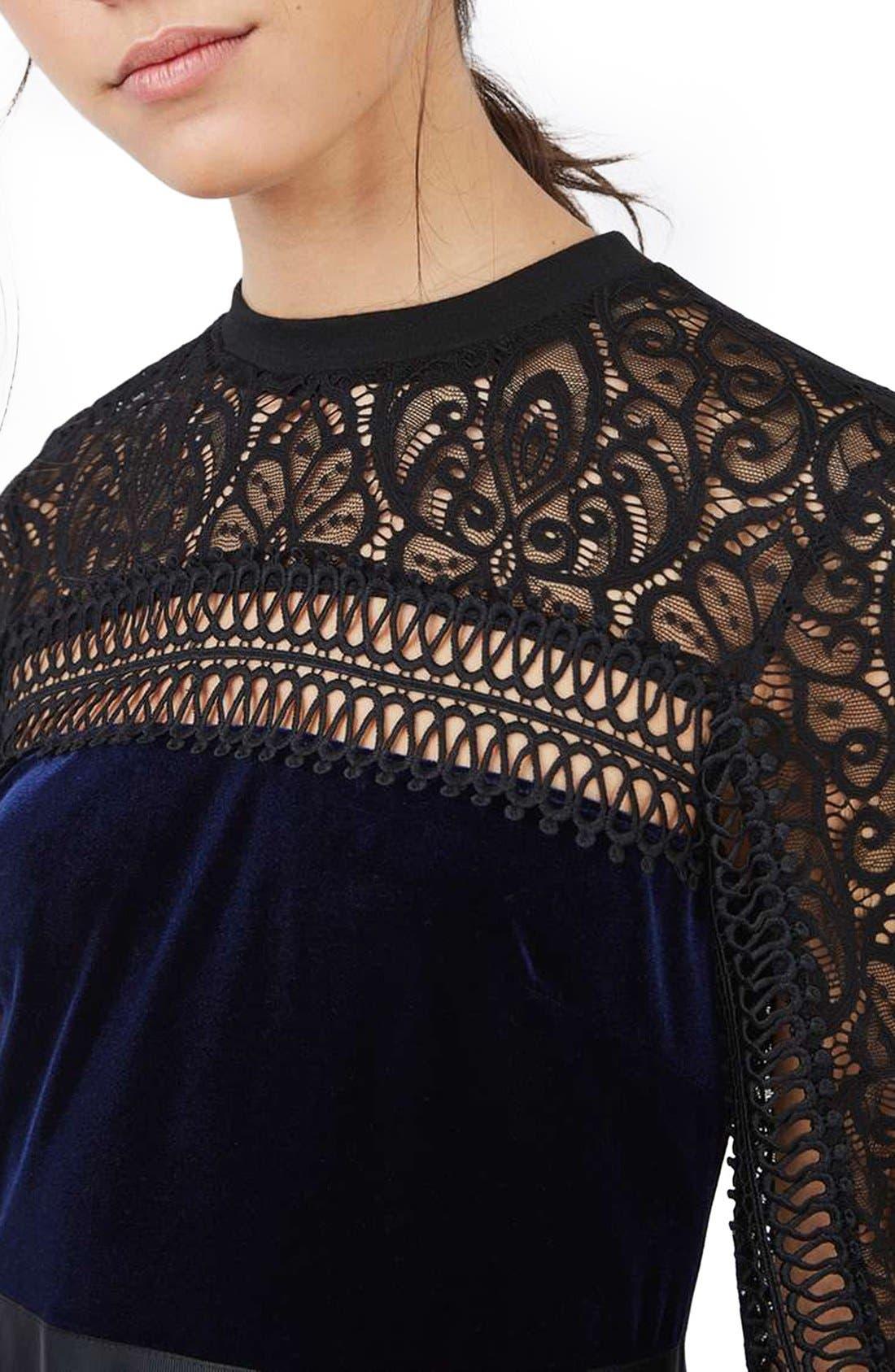Alternate Image 5  - Topshop Lace & Velvet Dress