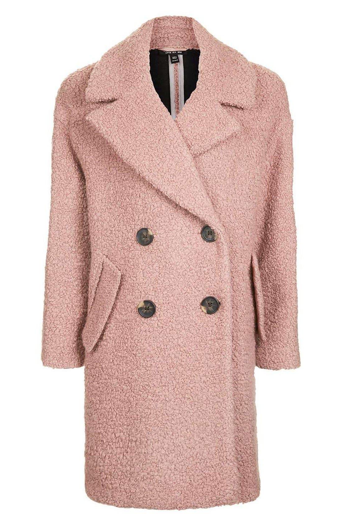 Alicia Bouclé Coat,                             Alternate thumbnail 4, color,                             Pink