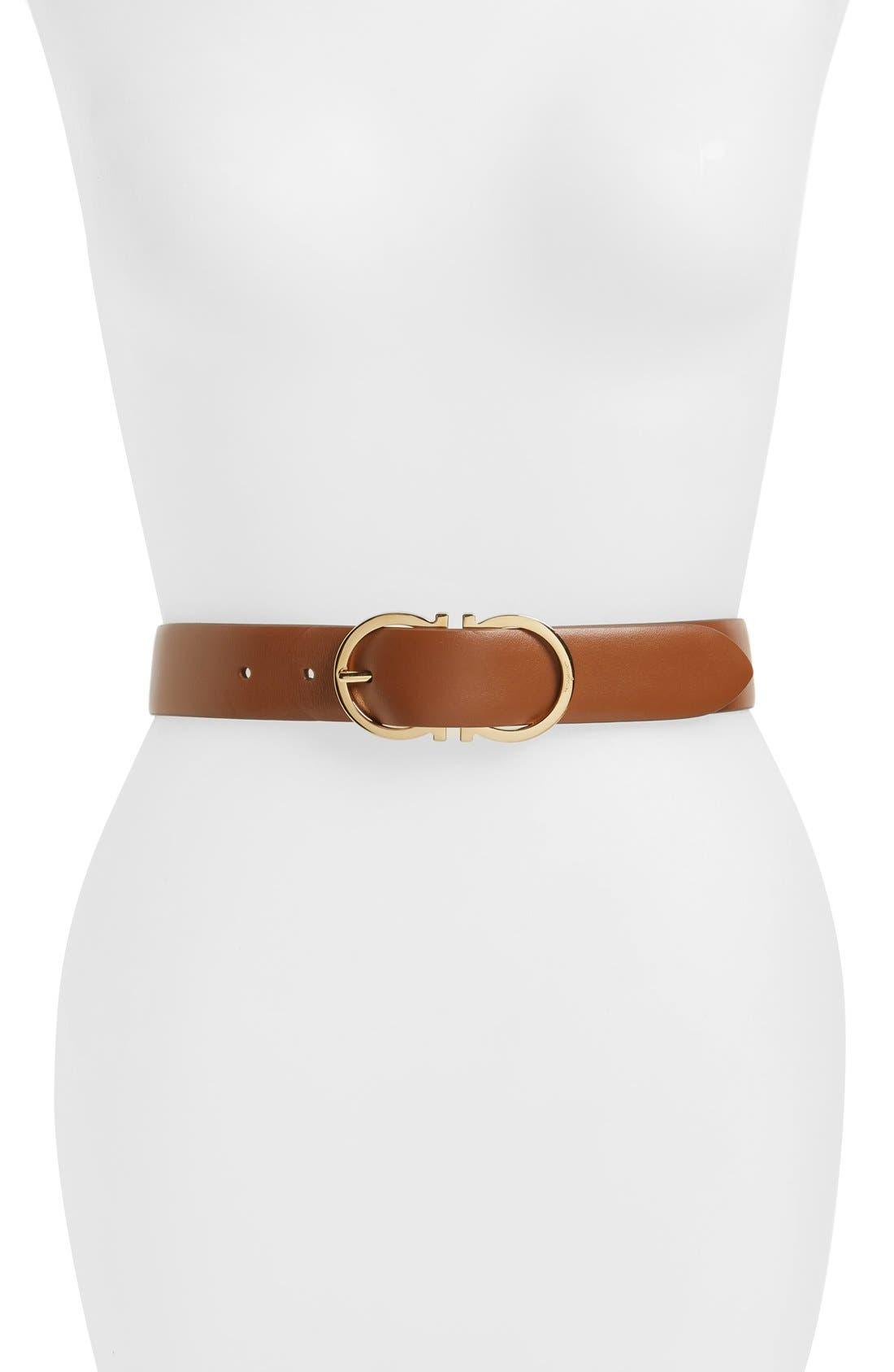 Reversible Gancini Belt,                         Main,                         color, Brown