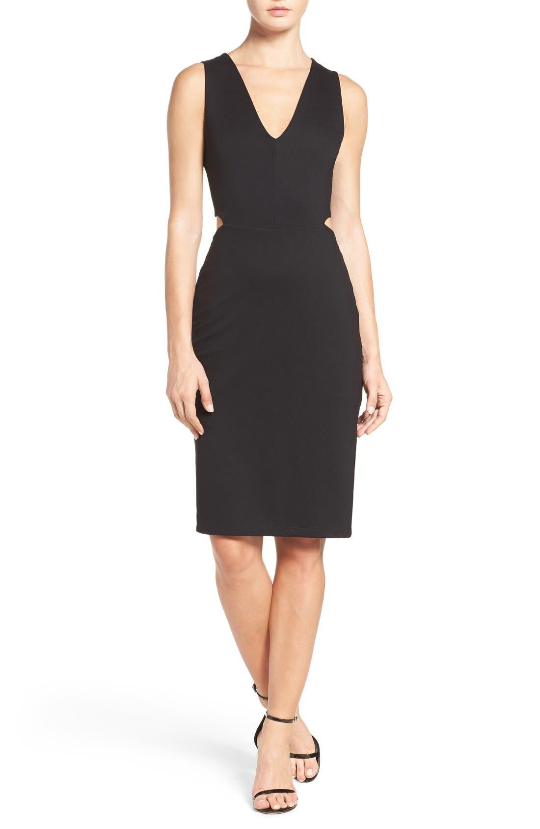 Ponte Cutout Sheath Dress,                             Alternate thumbnail 4, color,                             Black