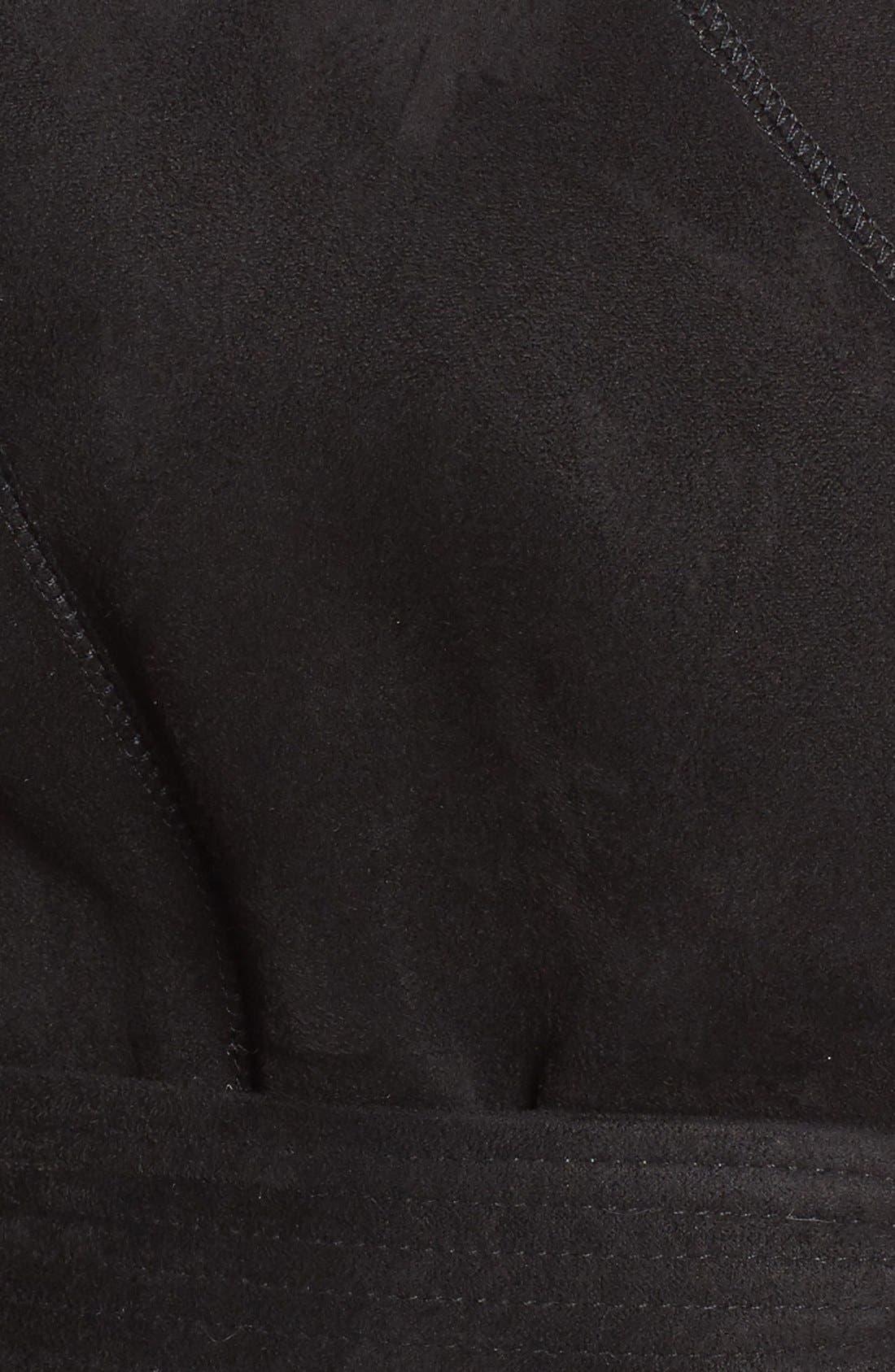 Faux Shearling Wrap Trench Coat,                             Alternate thumbnail 5, color,                             Black