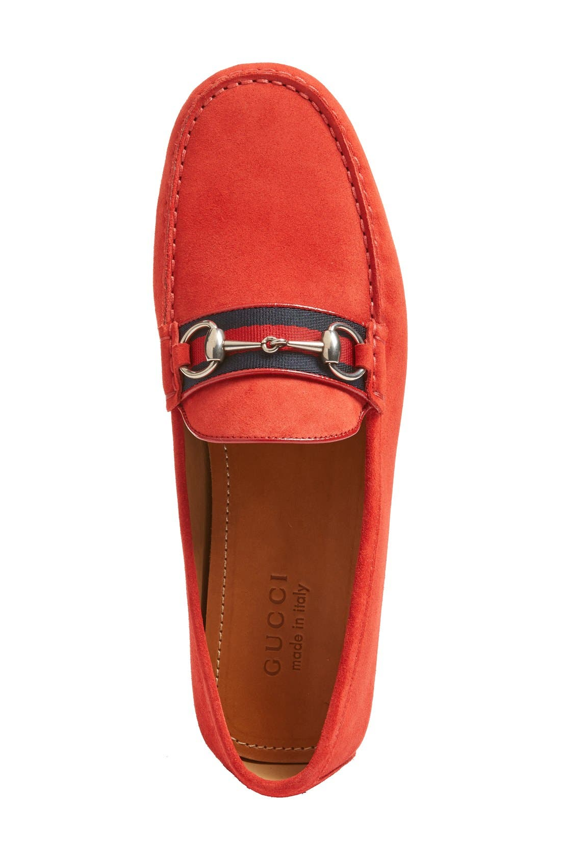 Kanye Bit Loafer,                             Alternate thumbnail 3, color,                             Ruby Suede