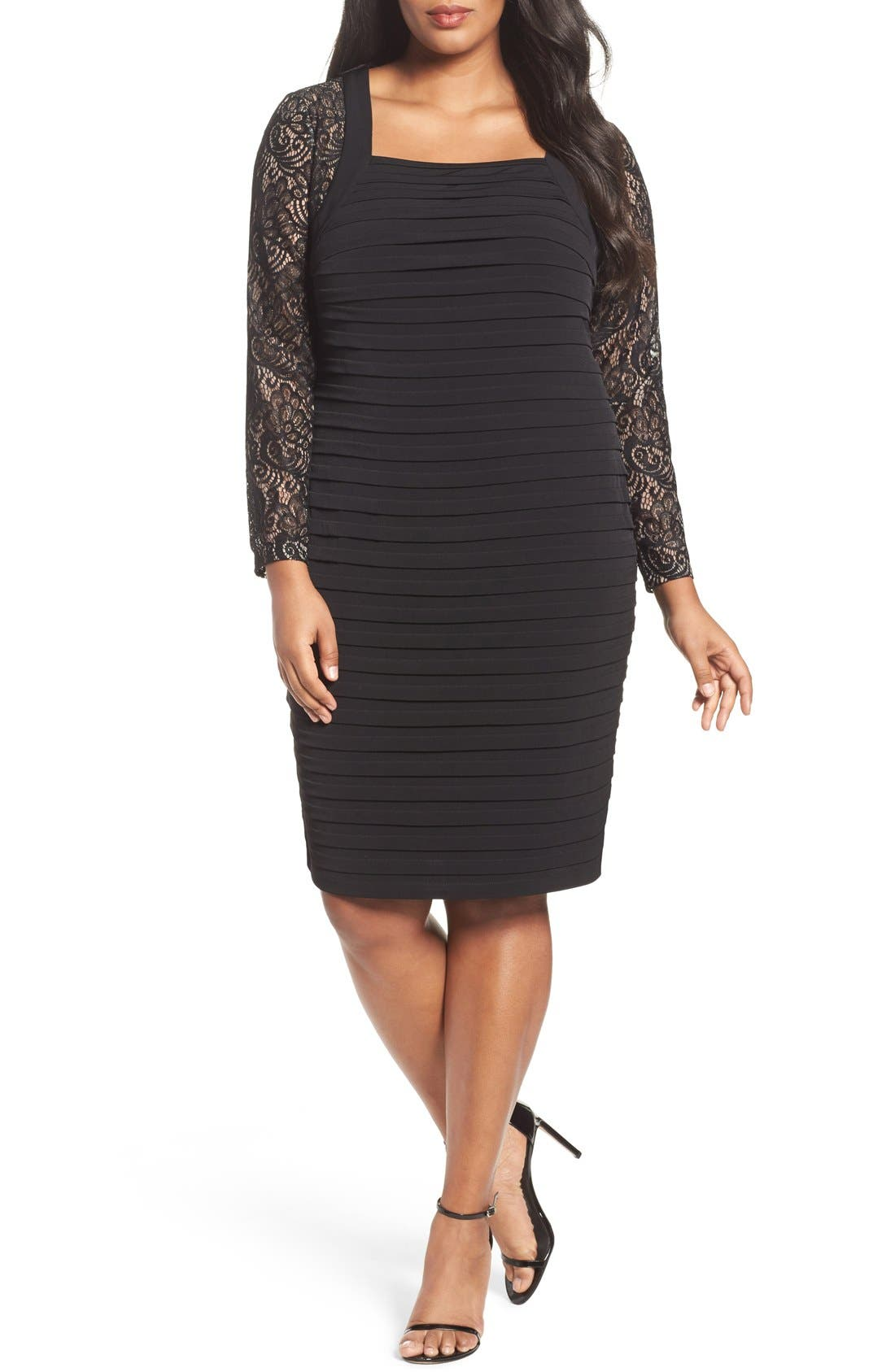 London Times Lace & Shutter Pleat Jersey Sheath Dress (Plus Size)