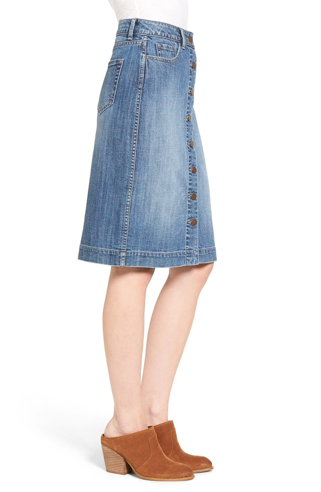 Button Front Denim Midi Skirt,                             Alternate thumbnail 3, color,                             Bluejay Medium Vintage