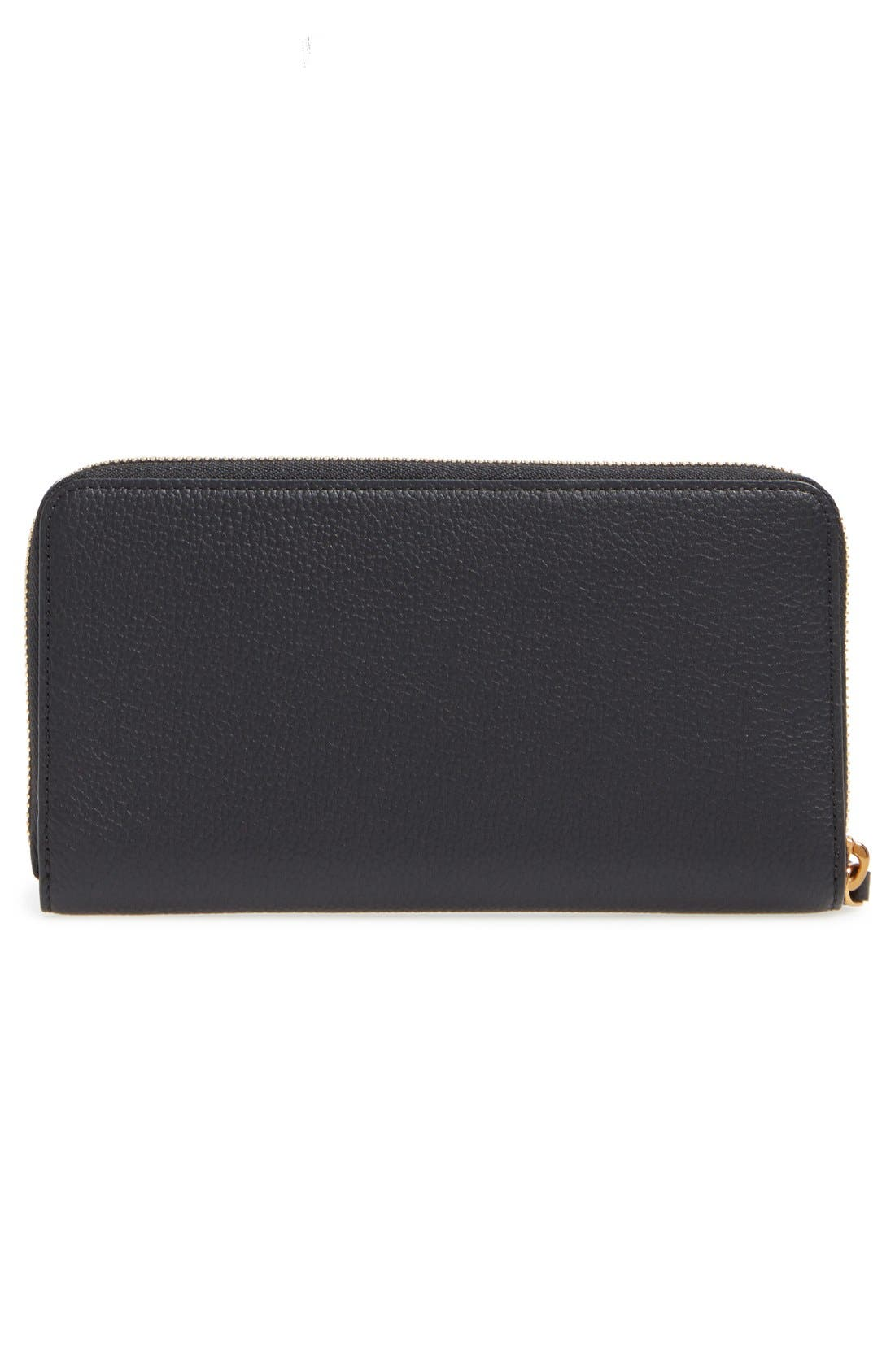 Milla Leather Zip Around Wallet,                             Alternate thumbnail 4, color,                             Black