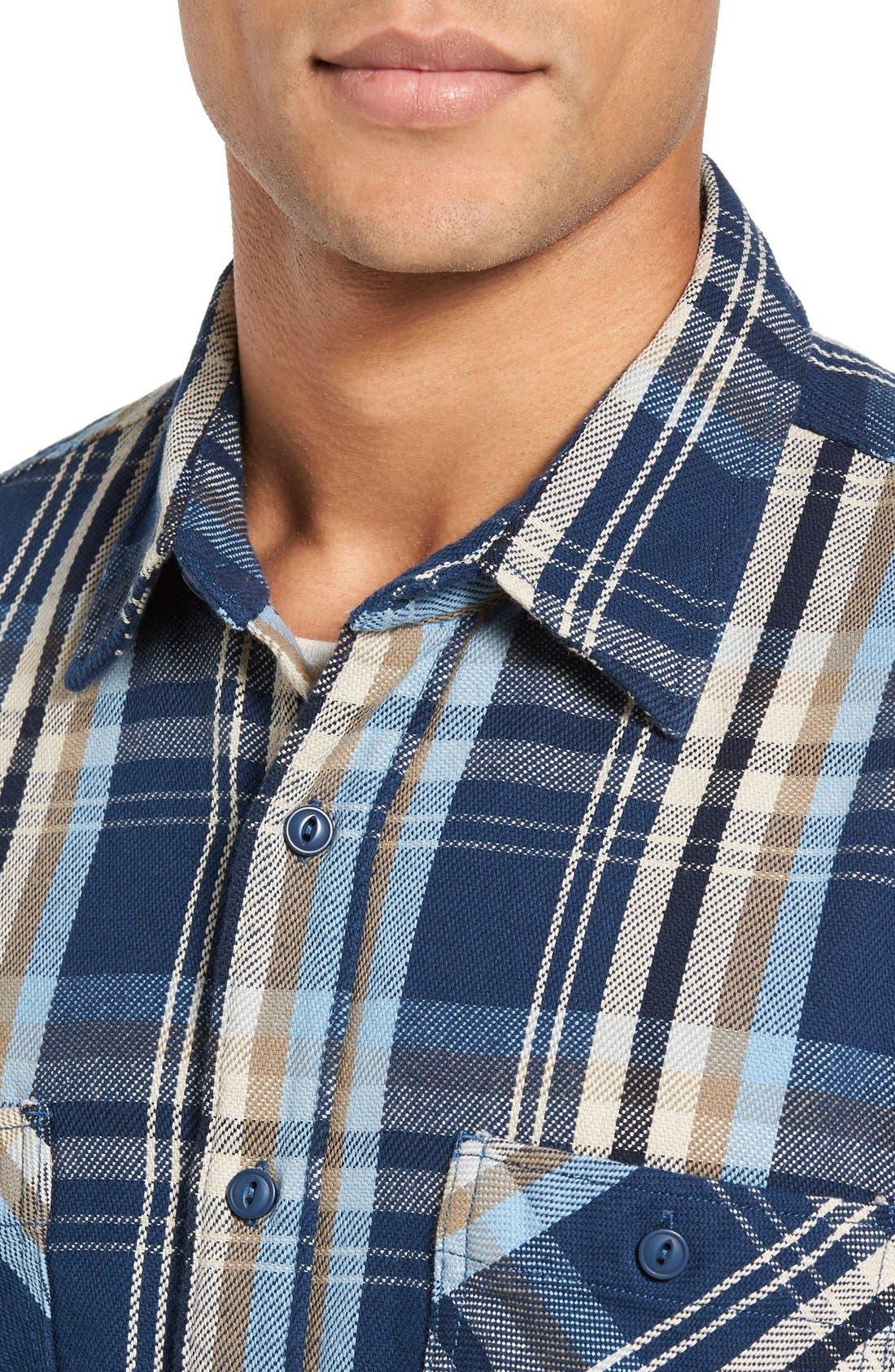 Classic Fit Plaid Flannel Shirt,                             Alternate thumbnail 4, color,                             Blue