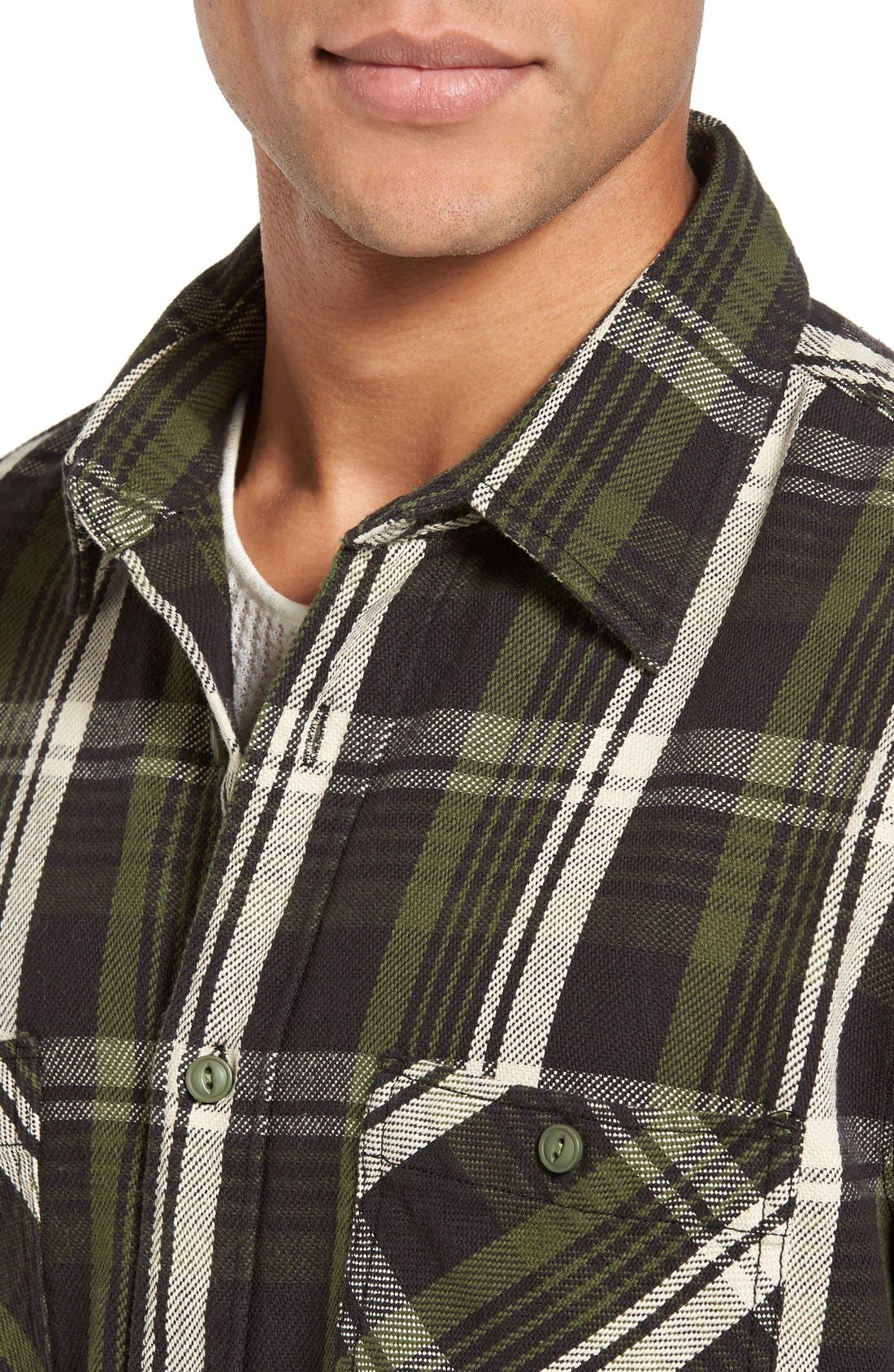 Classic Fit Plaid Flannel Shirt,                             Alternate thumbnail 4, color,                             Green