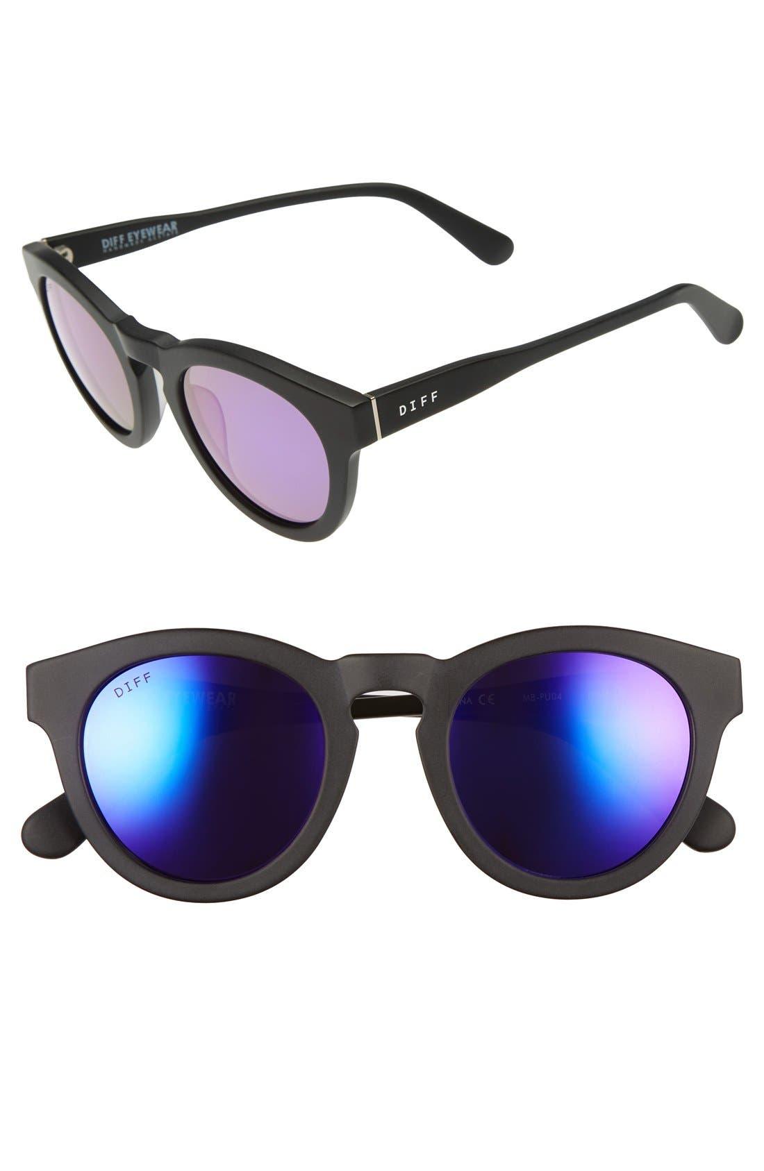 Dime II 48mm Retro Sunglasses,                         Main,                         color, Matte Black/ Purple