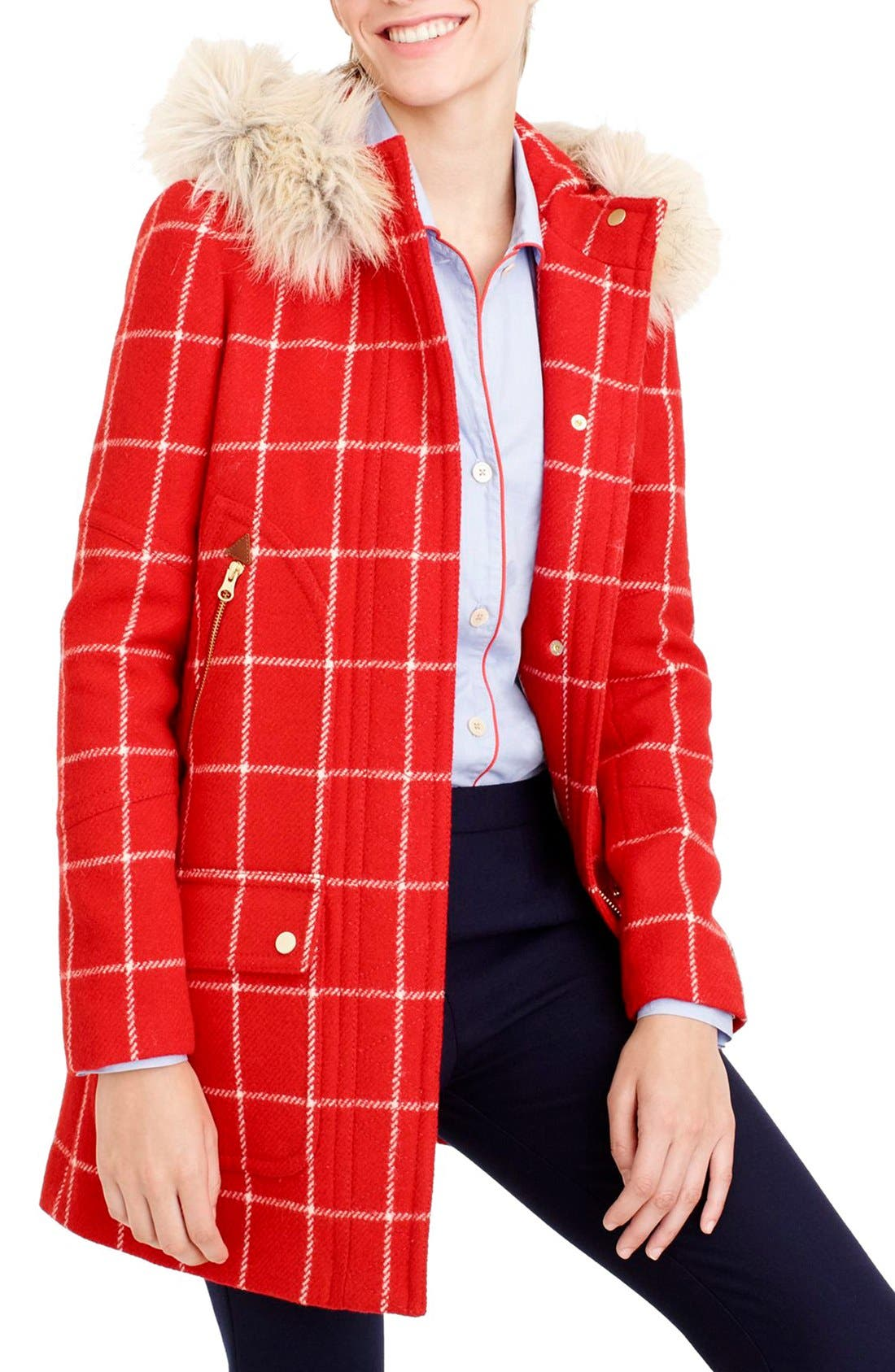 Alternate Image 3  - J.Crew Windowpane Check Chateau Parka (Regular and Petite)