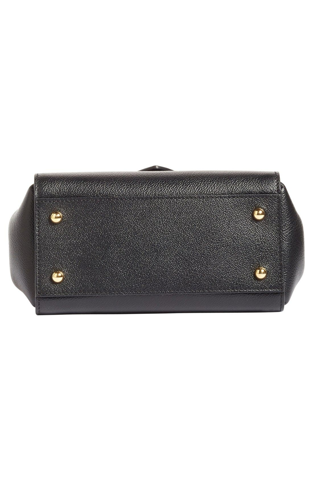 Small Buckle Leather Satchel,                             Alternate thumbnail 5, color,                             Black