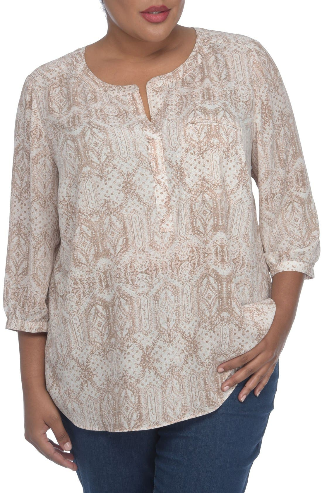 Alternate Image 1 Selected - NYDJ Henley Top (Plus Size)