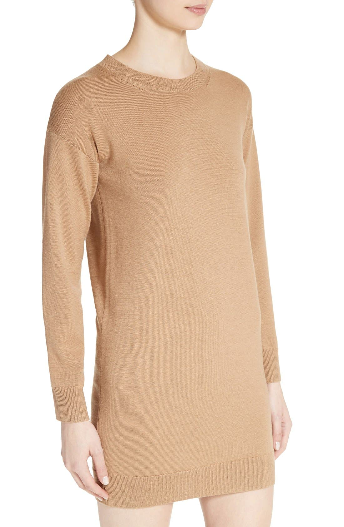 Alewater Elbow Patch Merino Wool Dress,                             Alternate thumbnail 7, color,                             Camel
