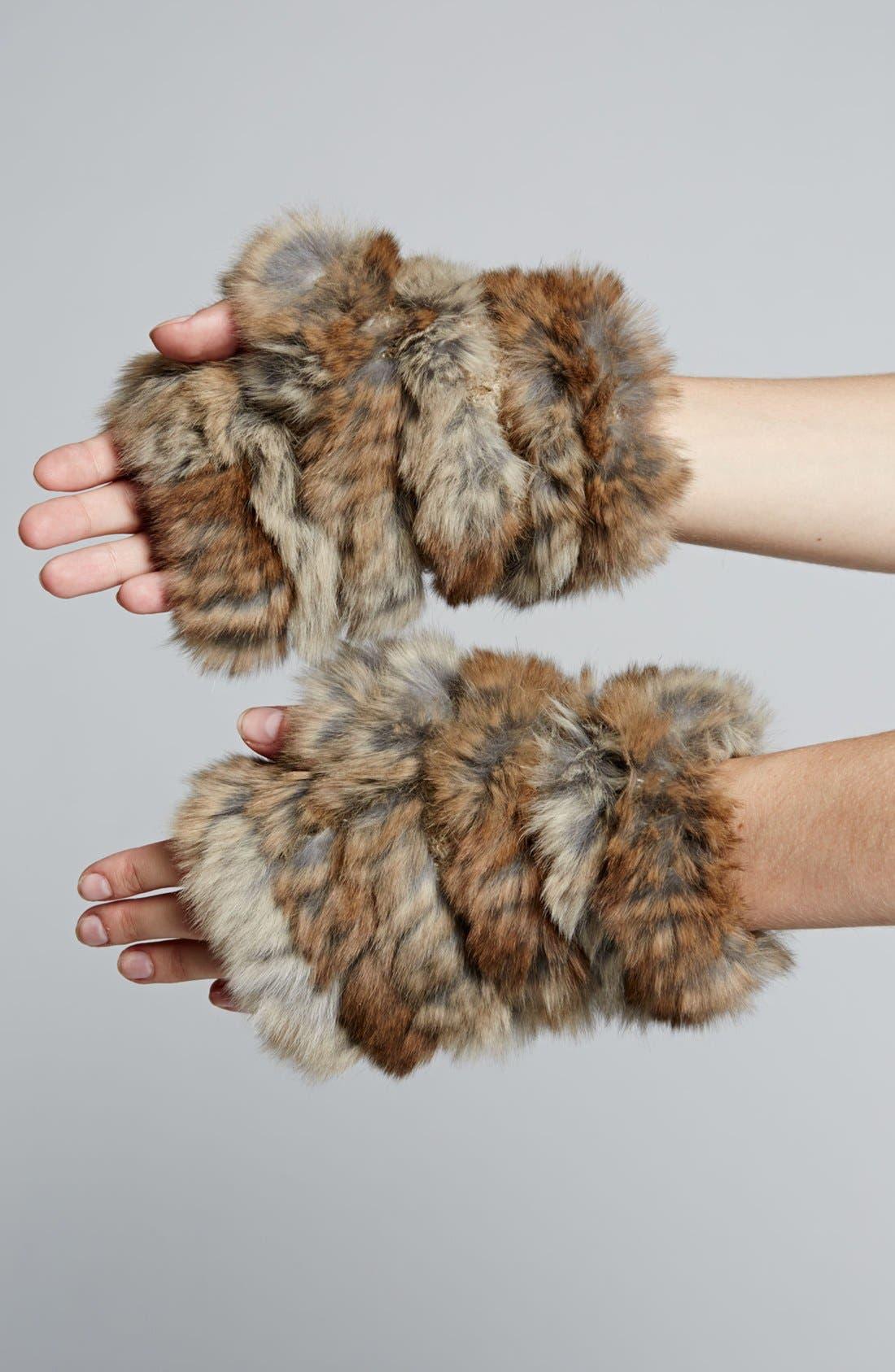 Alternate Image 3  - Jocelyn Genuine Rabbit Fur Fingerless Mittens