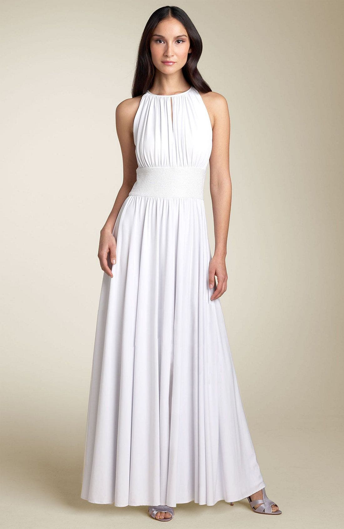 Main Image - JS Boutique Cutaway Shoulder Beaded Waist Gown