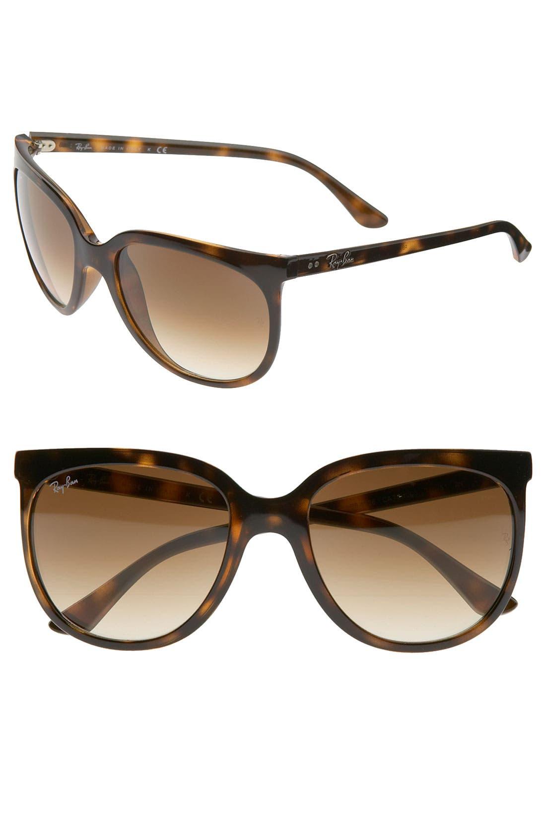 Retro Cat Eye Sunglasses,                             Main thumbnail 1, color,                             Havana