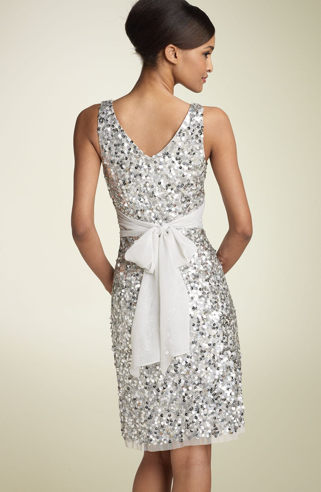 Alternate Image 2  - Adrianna Papell Sequin Sheath Dress with Chiffon Waist