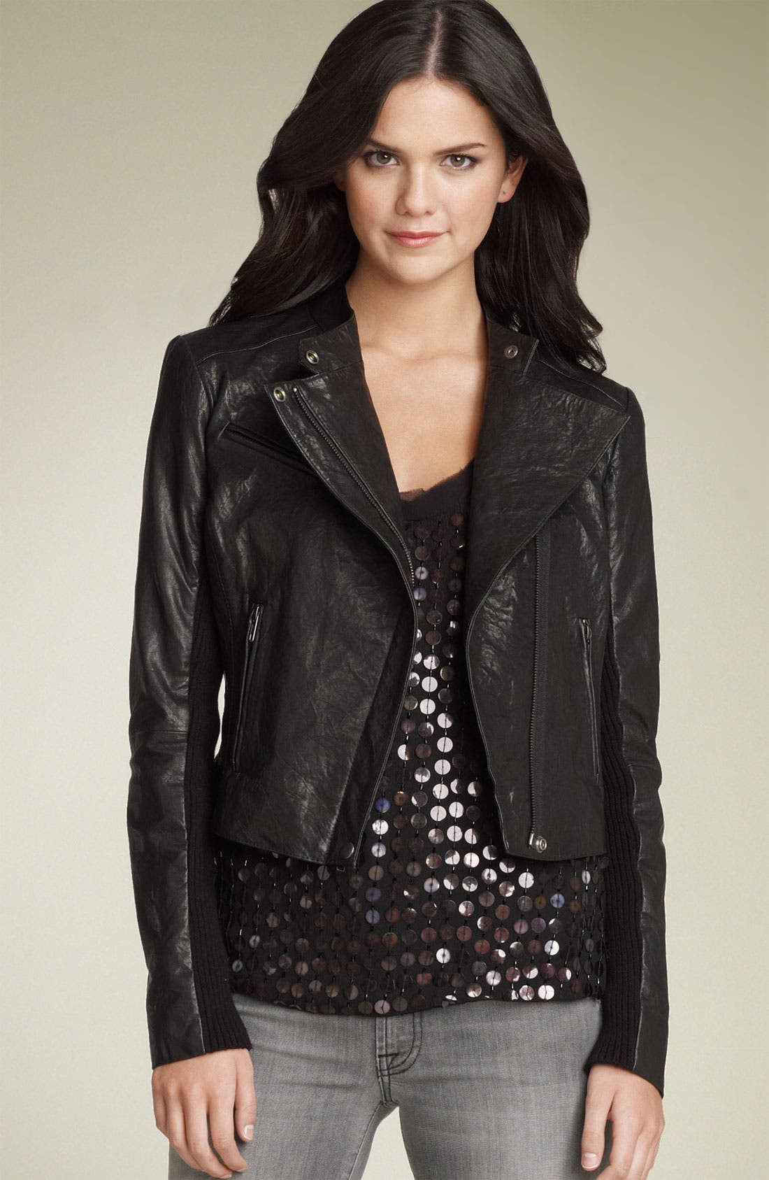 Main Image - Hinge® Leather Biker Jacket