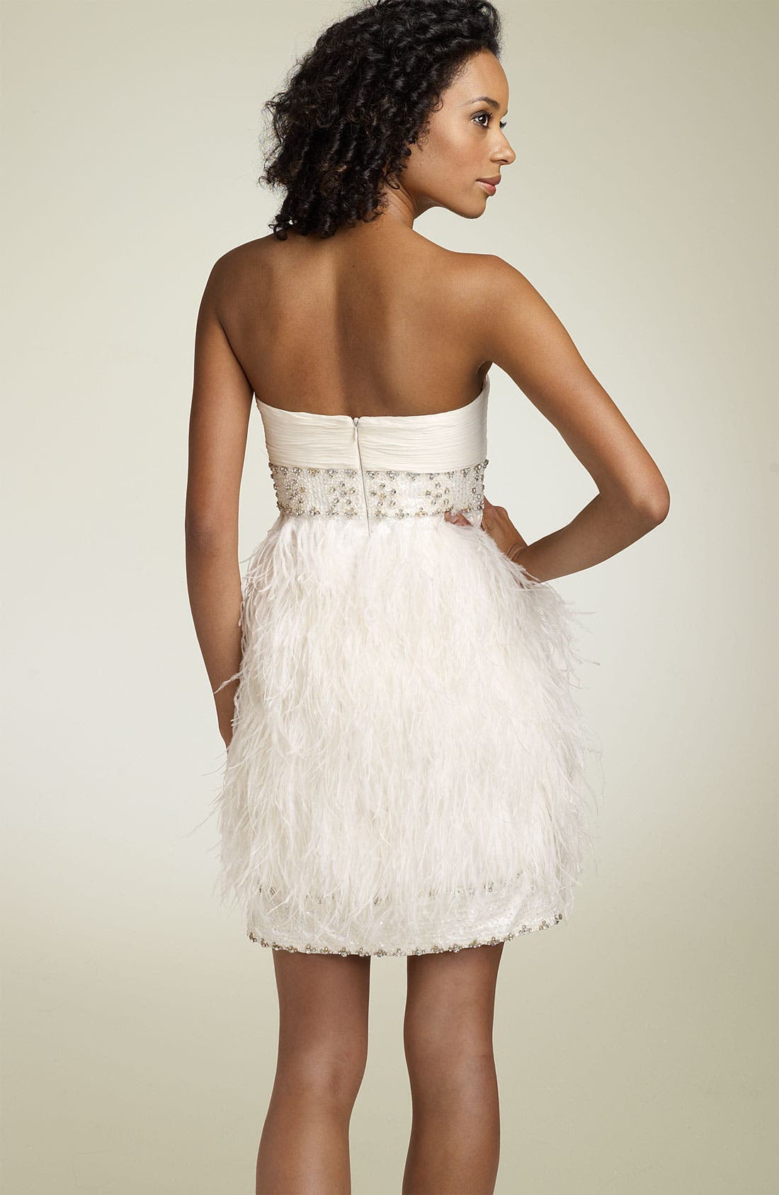 Alternate Image 2  - Sue Wong Strapless Dress with Ostrich Feathers