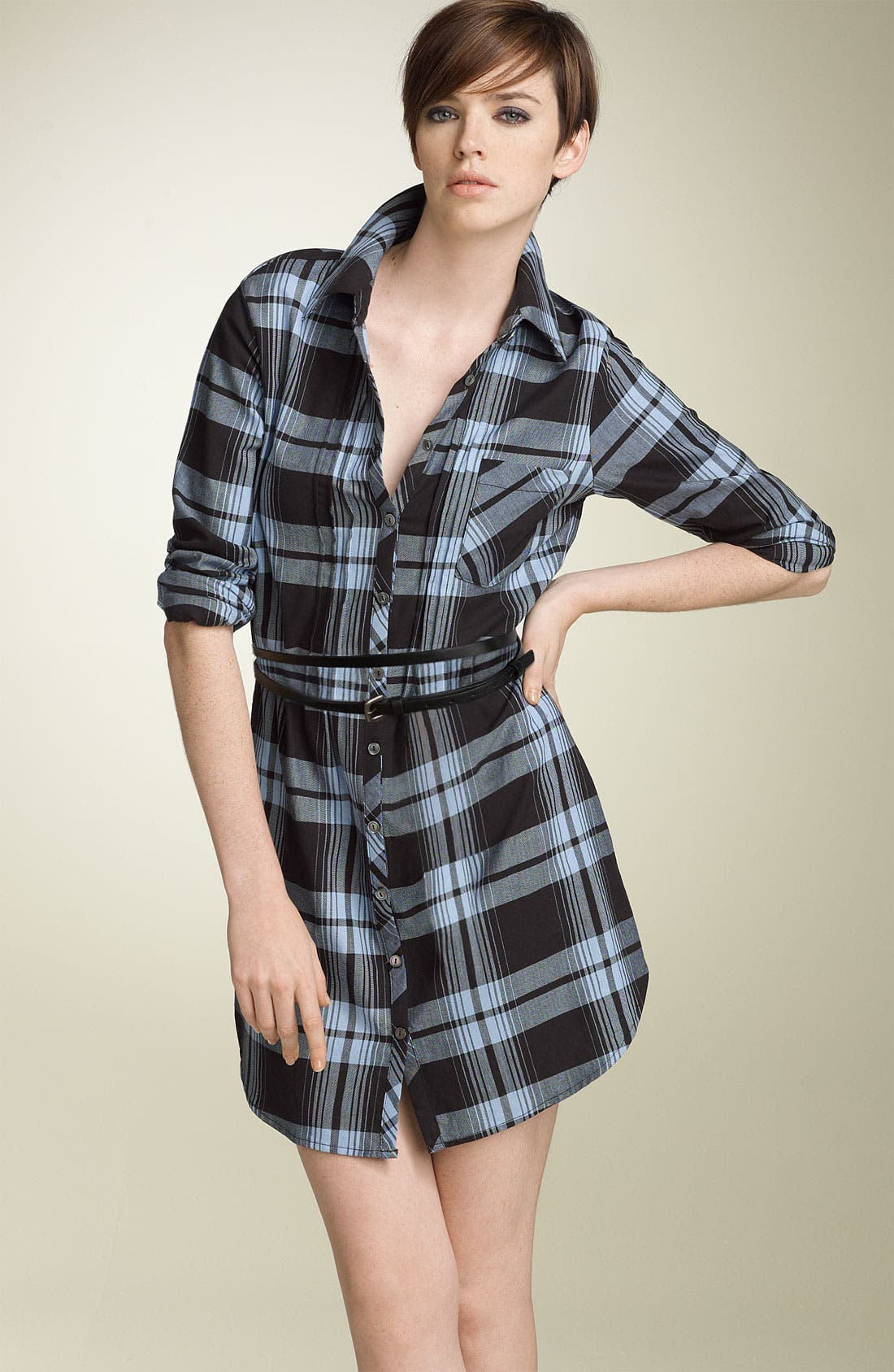 Alternate Image 1 Selected - Joie 'Gemini' Belted Plaid Shirtdress