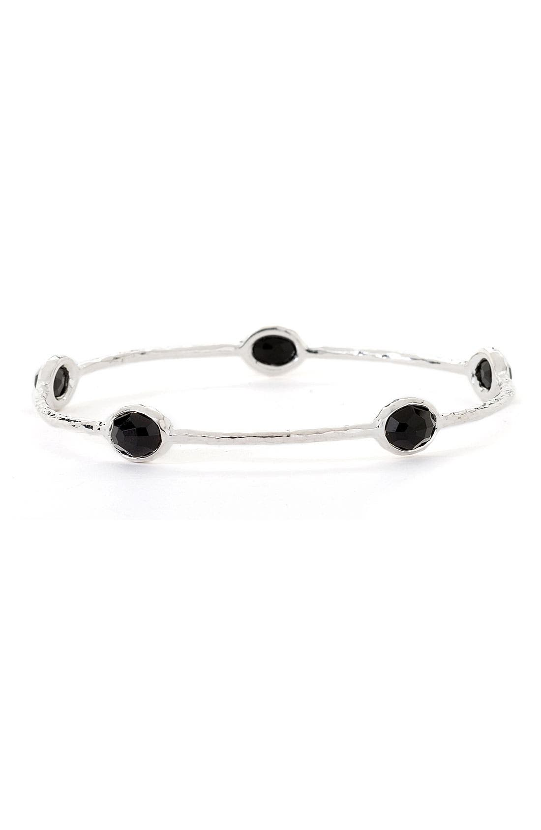 'Rock Candy' 5-Stone Sterling Silver Bangle,                             Main thumbnail 1, color,                             Silver - Black Onyx