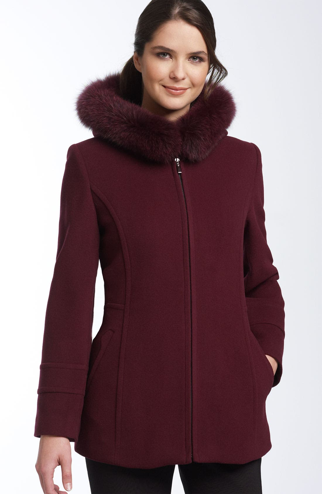 Sachi Wool & Cashmere Coat with Genuine Fur Trim | Nordstrom