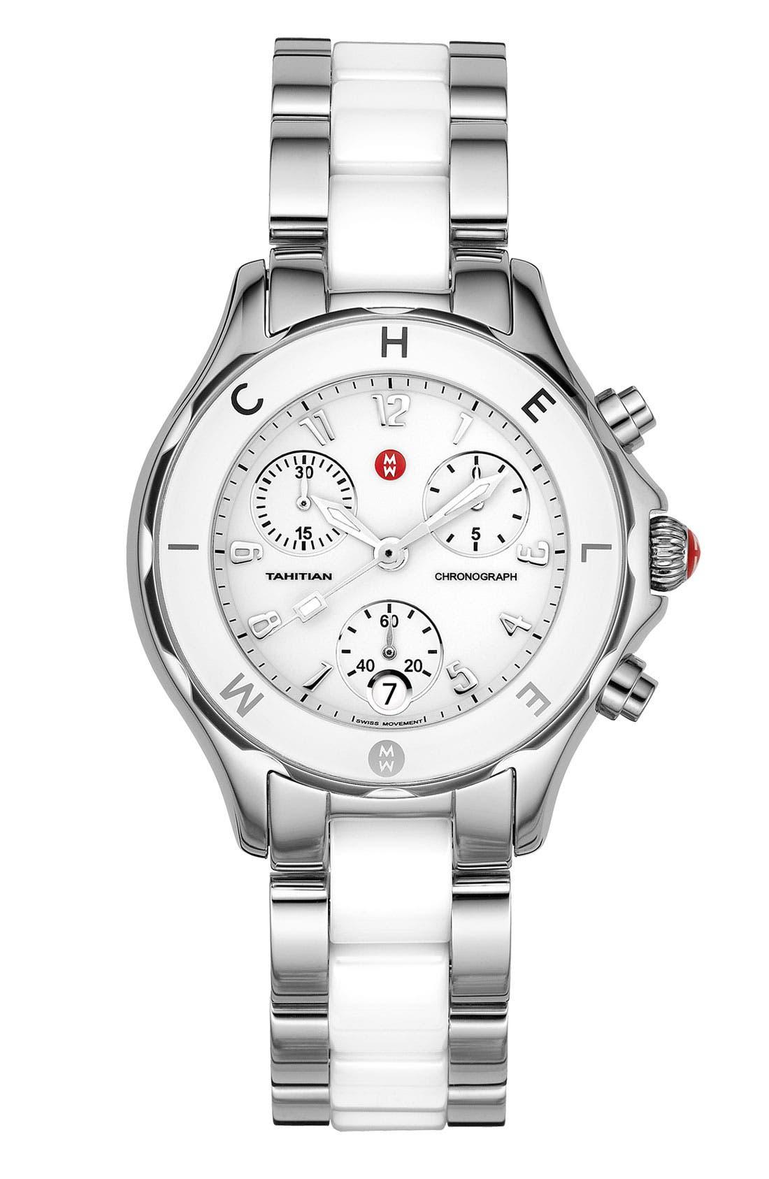 Main Image - MICHELE 'Tahitian' Stainless Steel & Ceramic Watch, 35mm