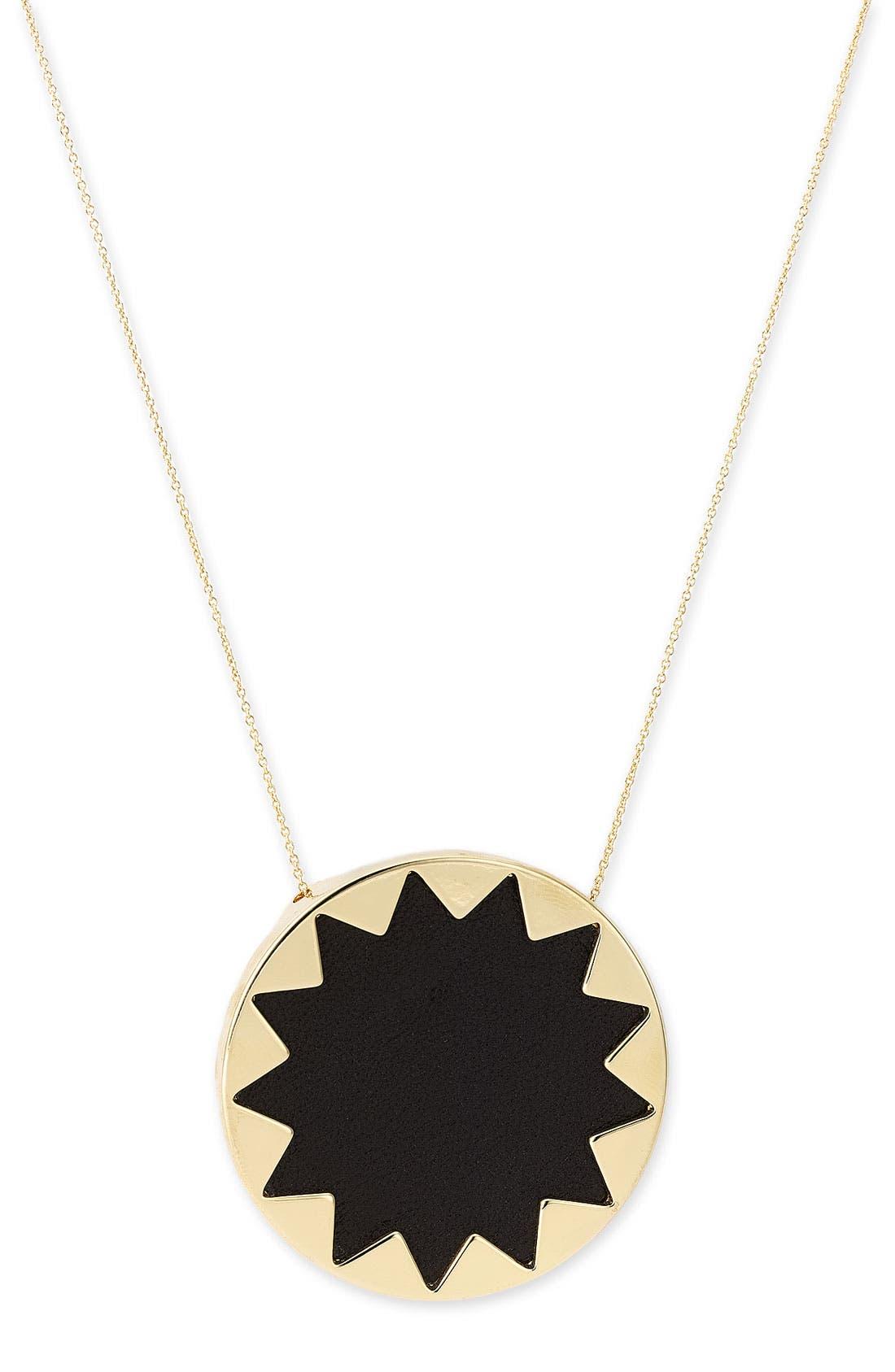 Sunburst Pendant Necklace,                         Main,                         color, Black/ Gold