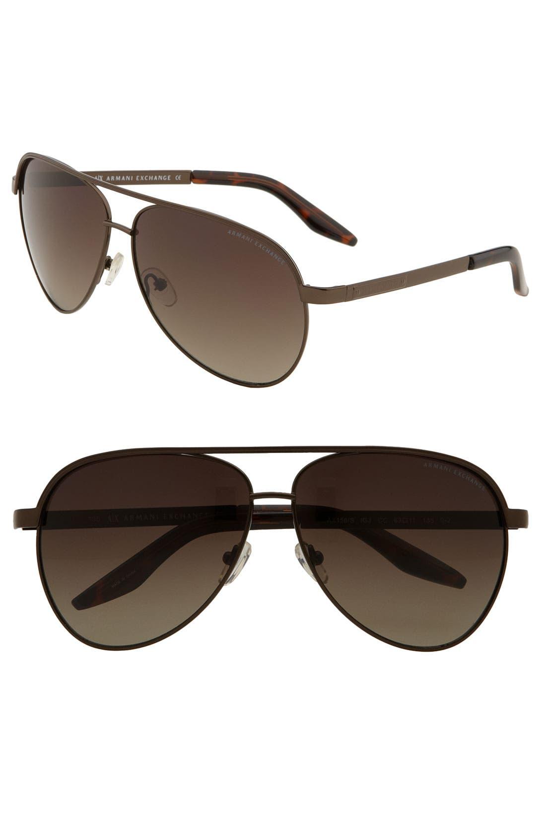 Alternate Image 1 Selected - AX Armani Exchange Metal Aviator Sunglasses