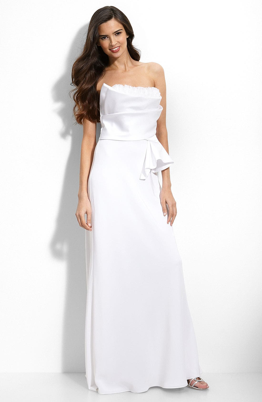 Main Image - ABS by Allen Schwartz Ruffle Trim Satin Gown