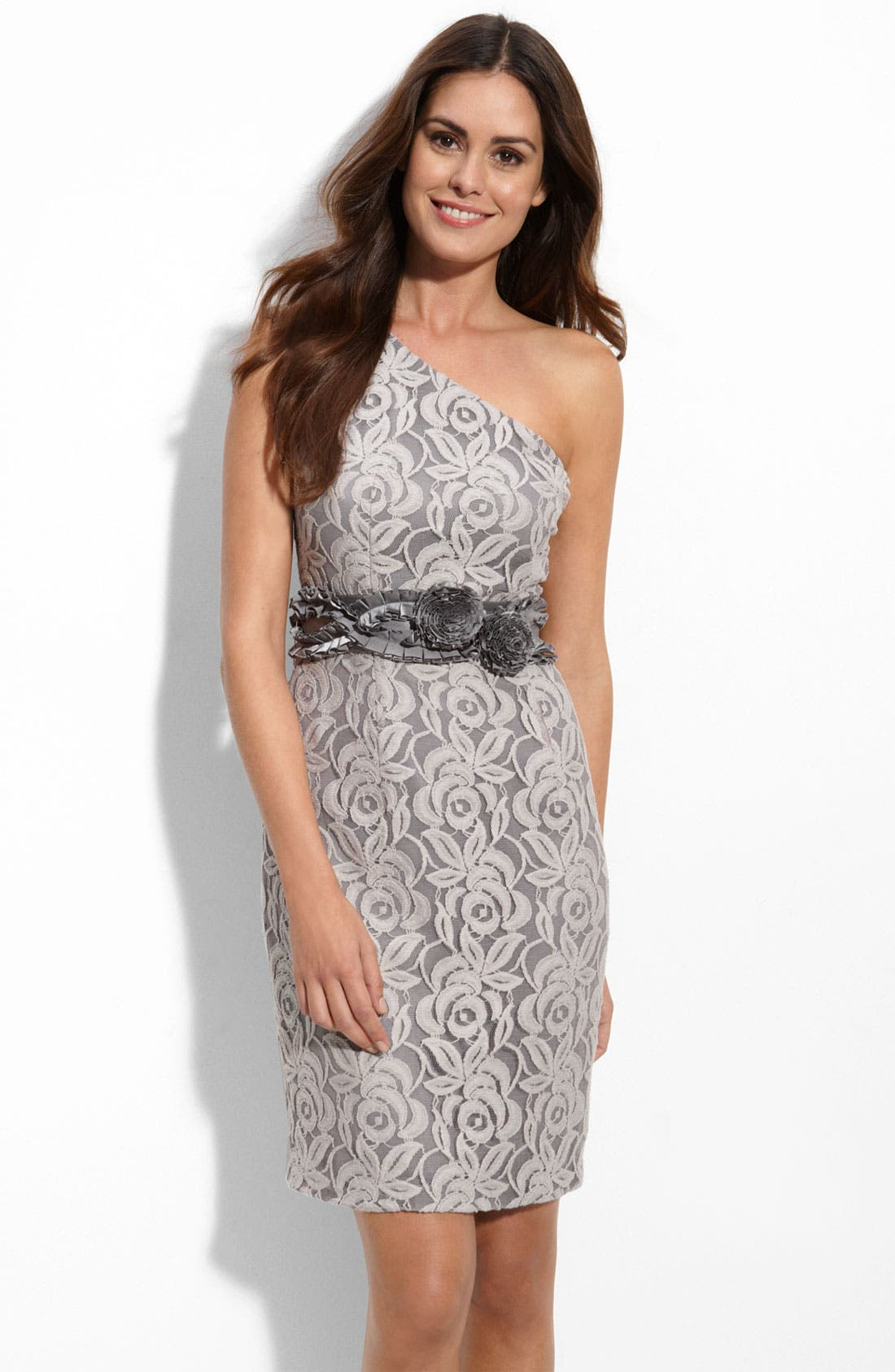 Alternate Image 1 Selected - Suzi Chin for Maggy Boutique One Shoulder Lace Sheath Dress
