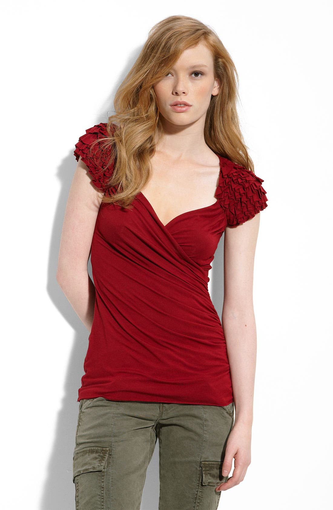 Alternate Image 1 Selected - Bailey 44 Ruffle Shoulder Faux Wrap Top