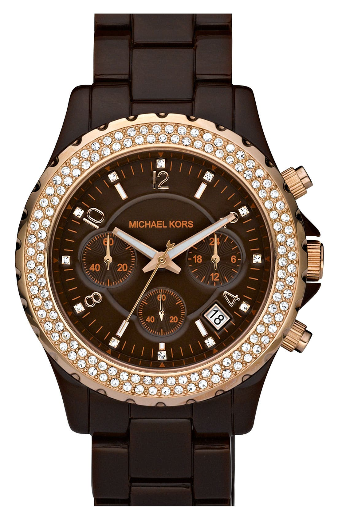 Main Image - Michael Kors 'Madison' Resin & Crystal Watch