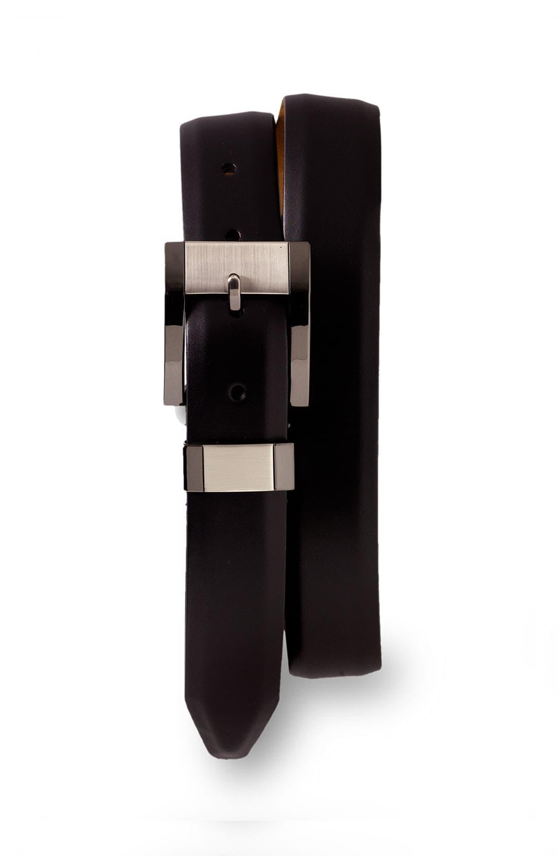 Main Image - Remo Tulliani Leather Belt with Brushed Gunmetal Buckle
