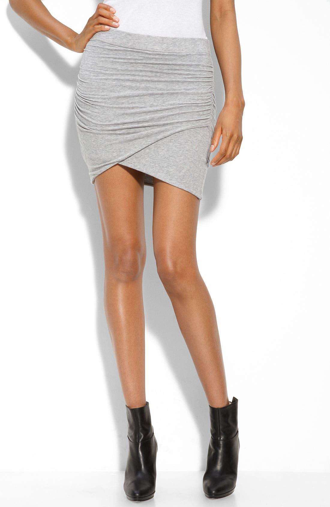 Faux Wrap Miniskirt,                         Main,                         color, Heather Grey