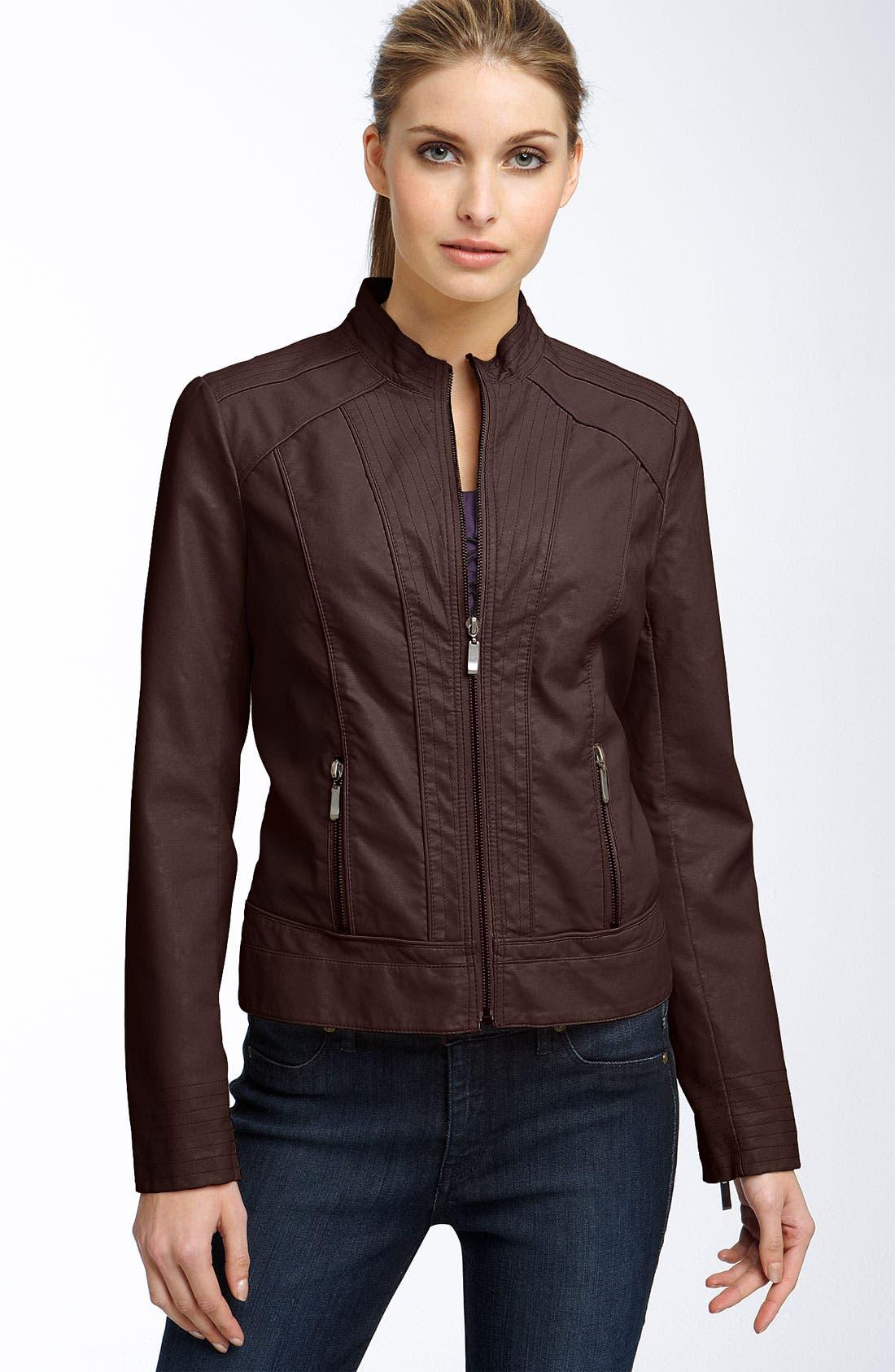 Alternate Image 1 Selected - Ashley B Faux Leather Scuba Jacket