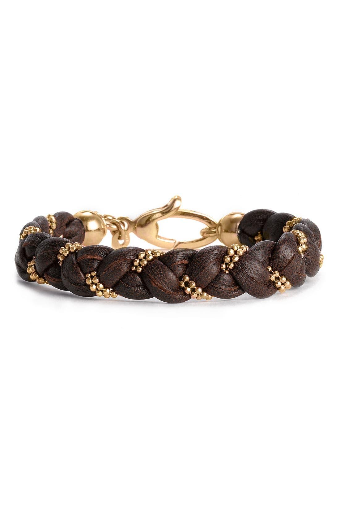 Main Image - Argento Vivo Braided Leather Bracelet