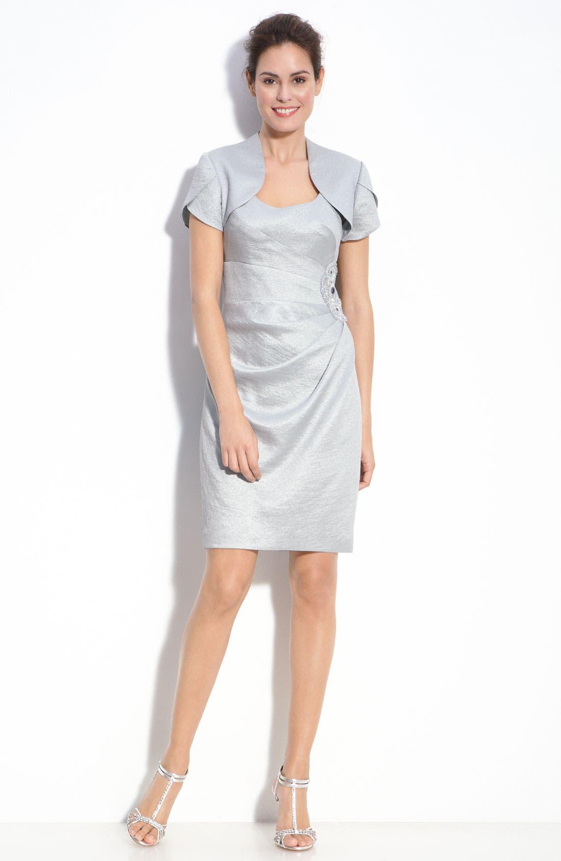Alternate Image 1 Selected - Adrianna Papell Metallic Crepe Sheath Dress & Bolero