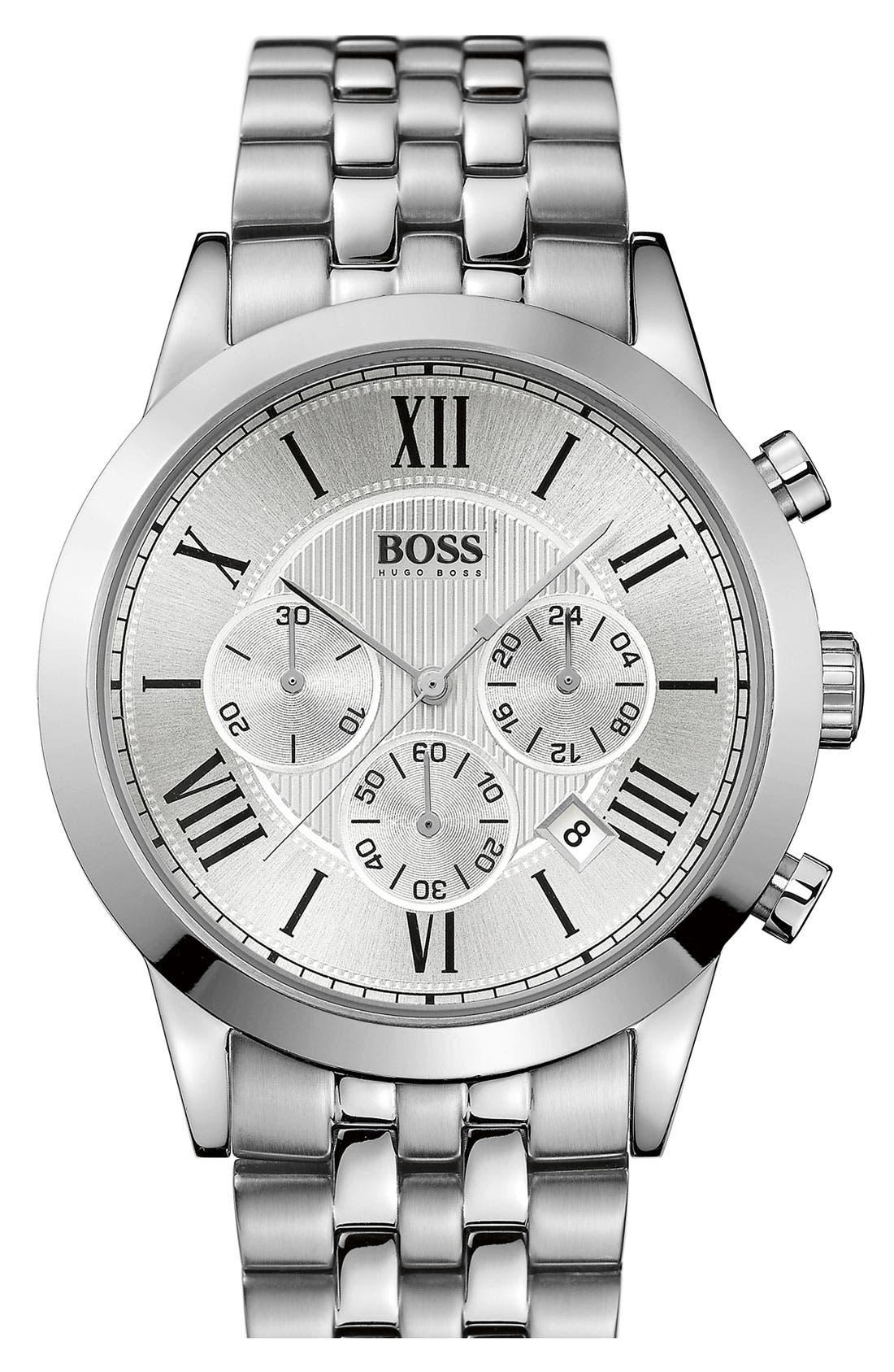 Main Image - BOSS HUGO BOSS Round Chronograph Bracelet Watch, 43mm