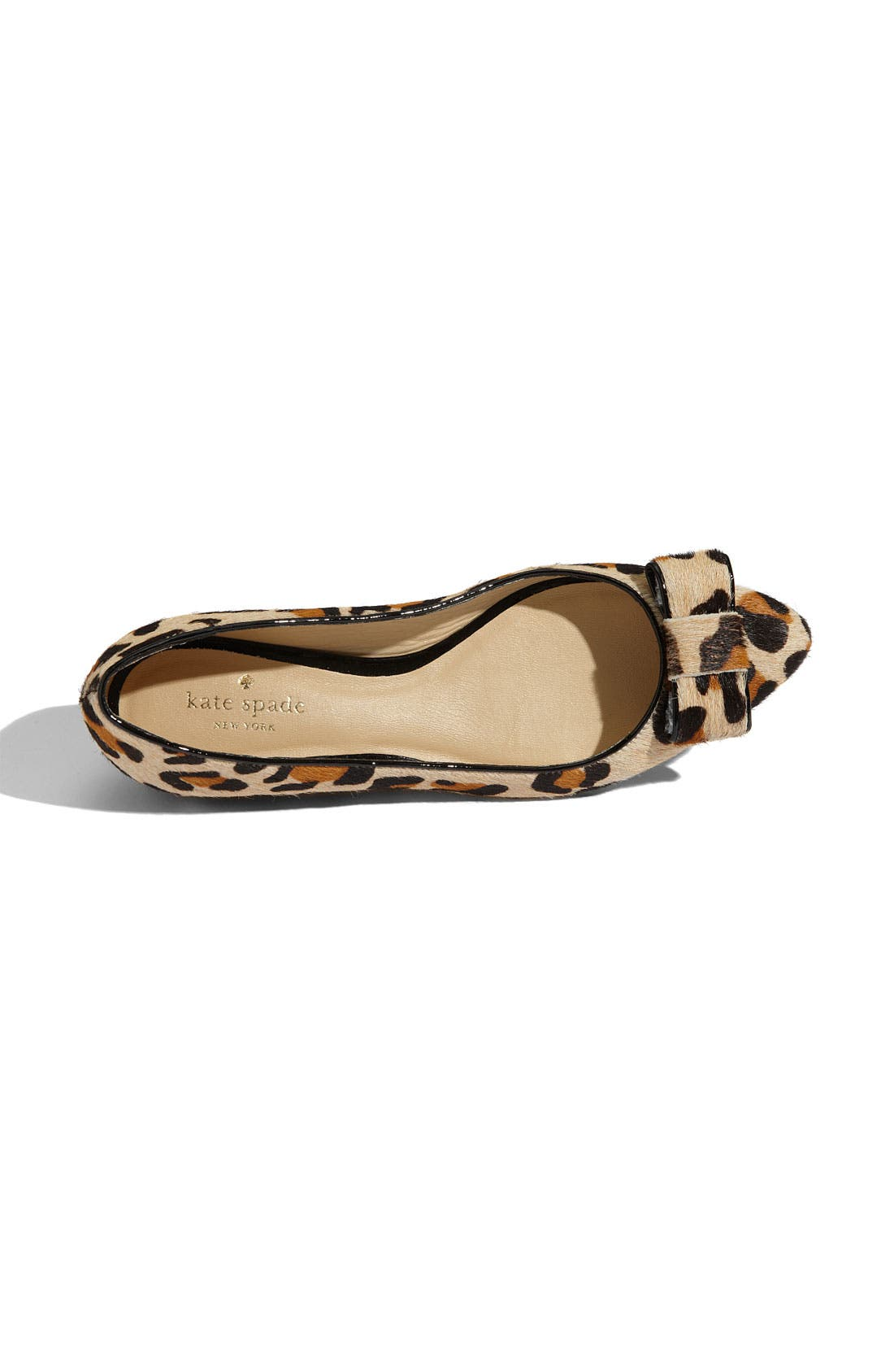'elise' leopard print calf hair flat,                             Alternate thumbnail 3, color,                             Large Leopard Printed