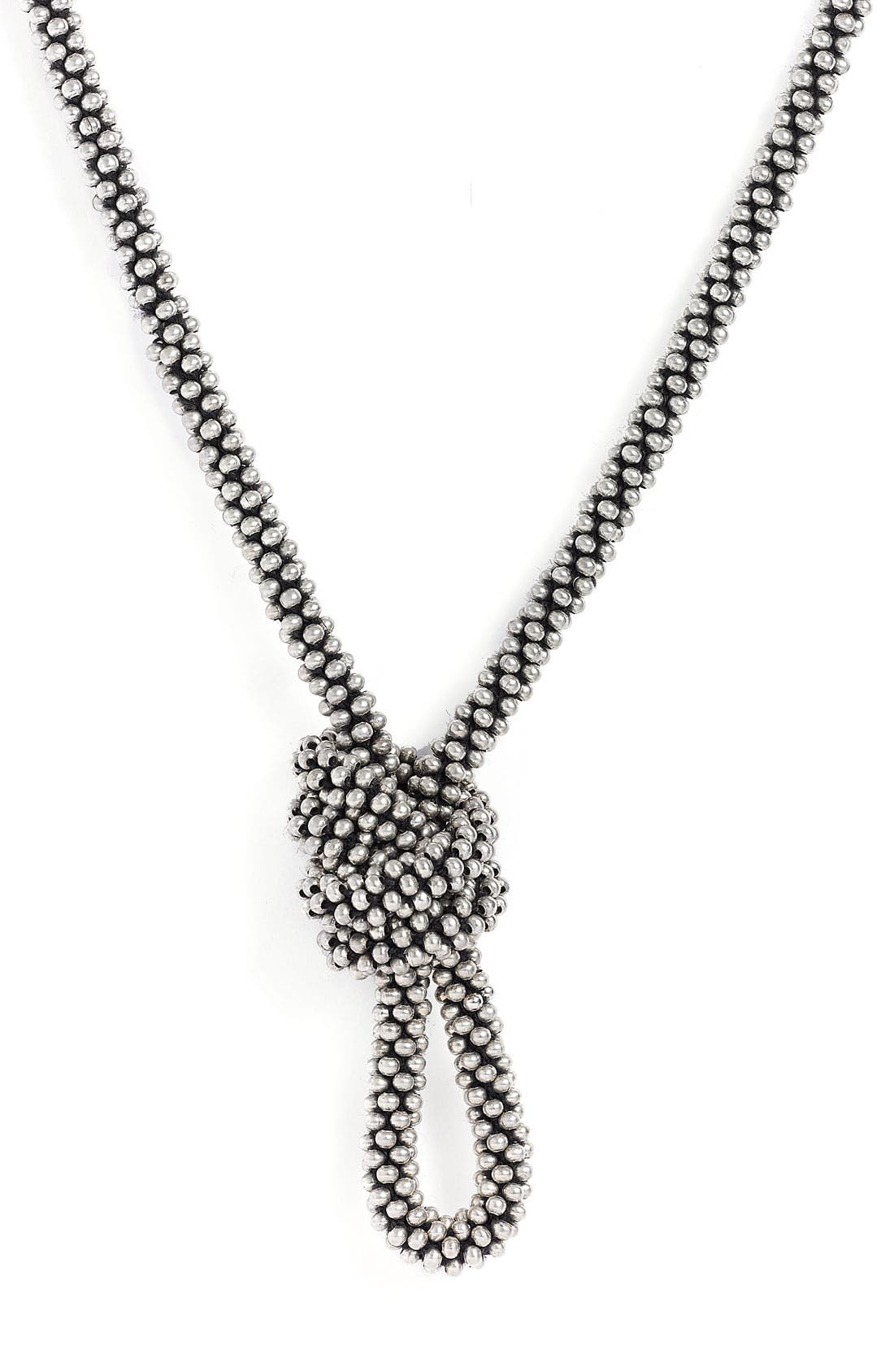 'Endless' Beaded Necklace,                         Main,                         color, Burnished Silver