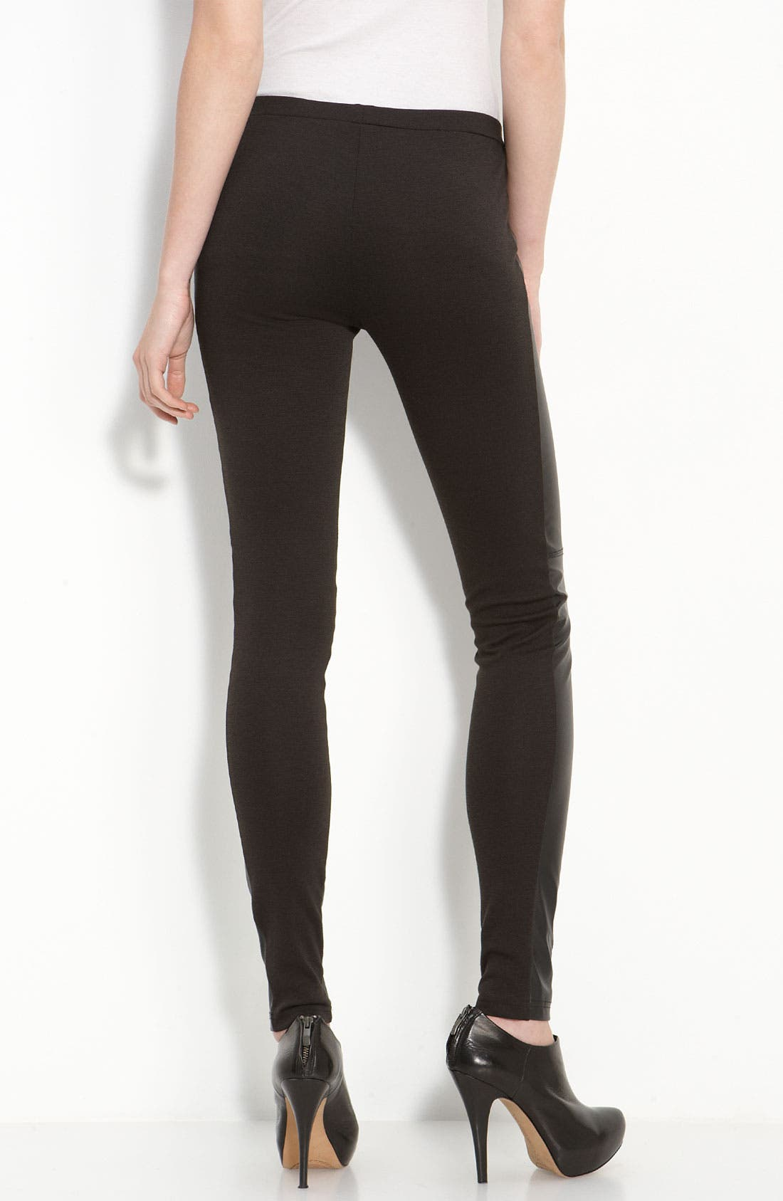 Alternate Image 2  - Trouvé Faux Leather Front Leggings