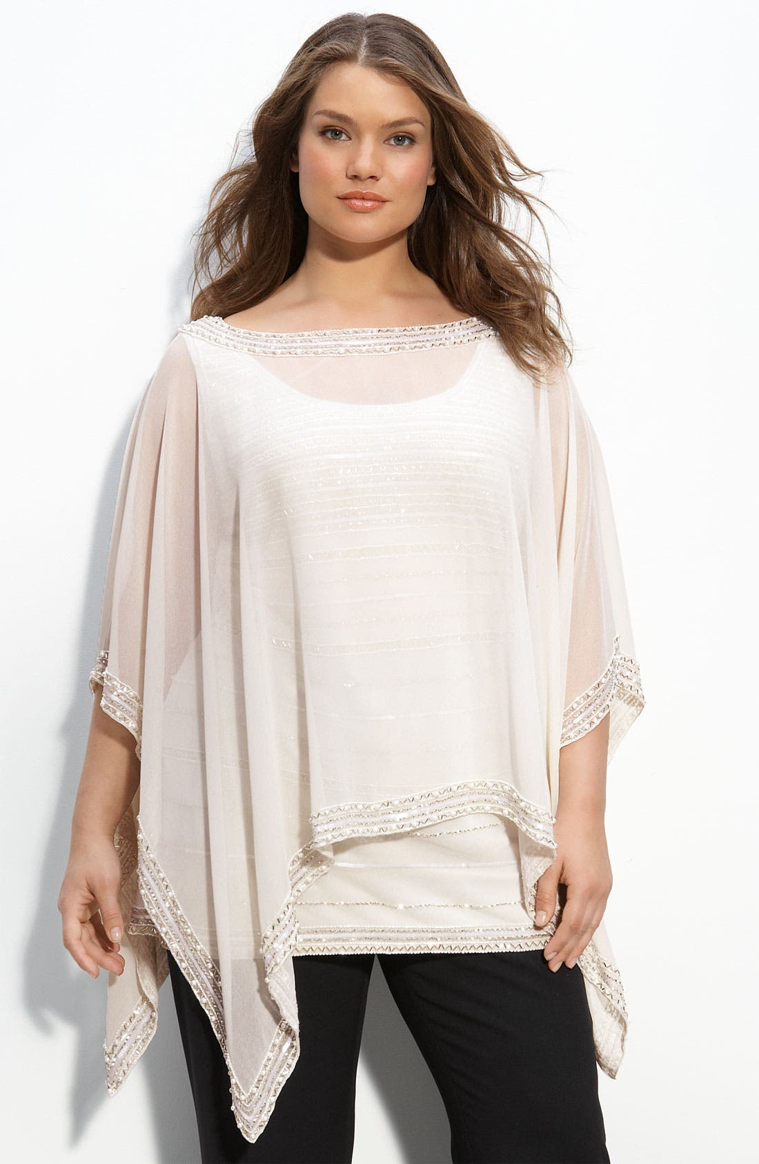 Main Image - J Kara Beaded Poncho & Tank (Plus)
