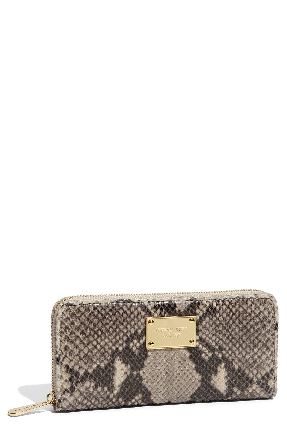 Main Image - MICHAEL Michael Kors 'Jet Set' Snake Embossed Continental Wallet