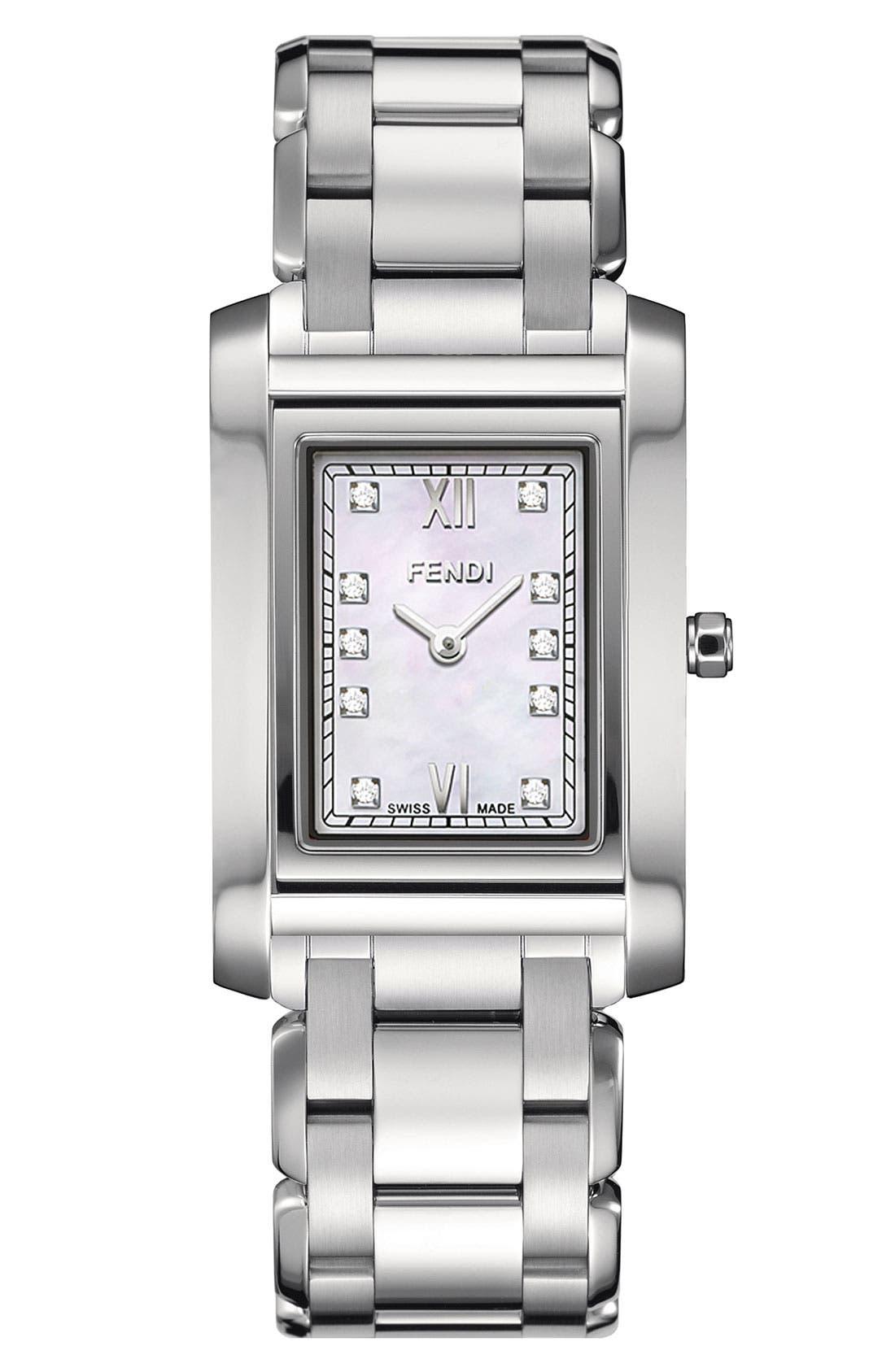 Alternate Image 1 Selected - Fendi 'Loop - Small' Diamond Dial Watch, 21mm x 34mm