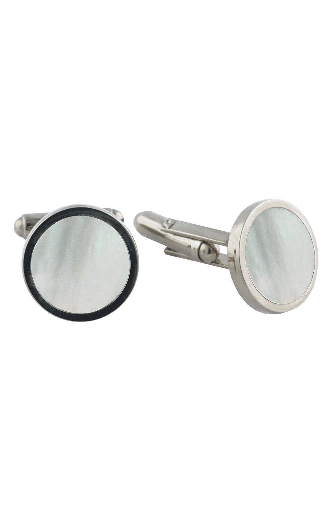 Alternate Image 1 Selected - David Donahue Sterling Silver & Mother-of-Pearl Cuff Links