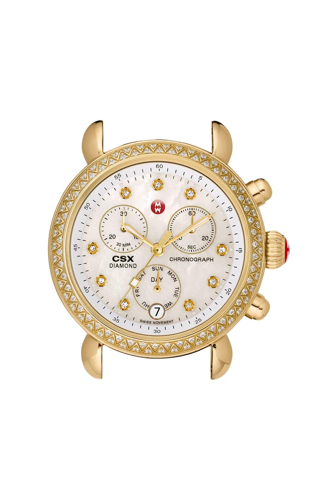 Main Image - MICHELE 'CSX-36 Diamond' Diamond Dial Gold Plated Watch Case, 36mm